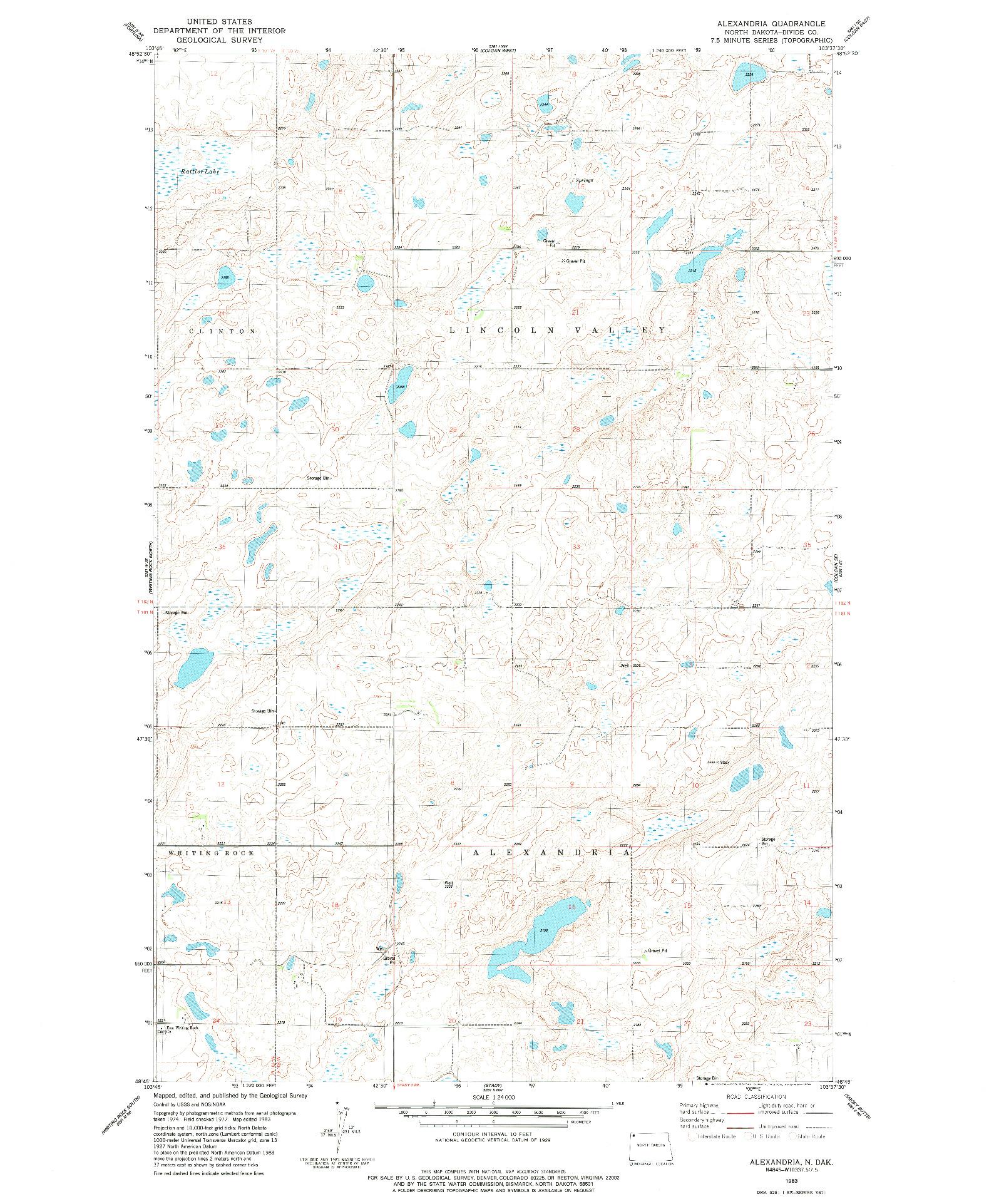 USGS 1:24000-SCALE QUADRANGLE FOR ALEXANDRIA, ND 1983