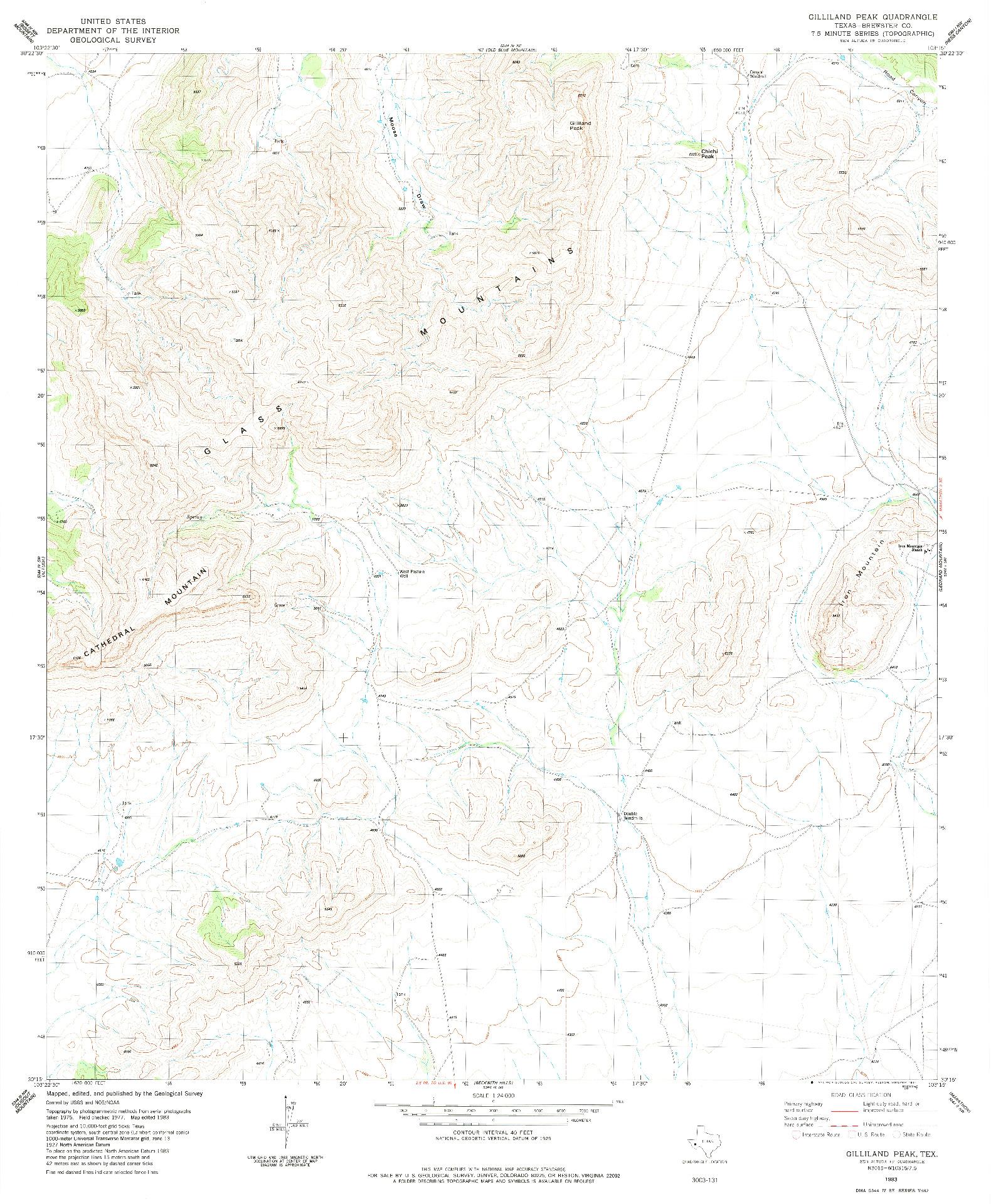 USGS 1:24000-SCALE QUADRANGLE FOR GILLILAND PEAK, TX 1983
