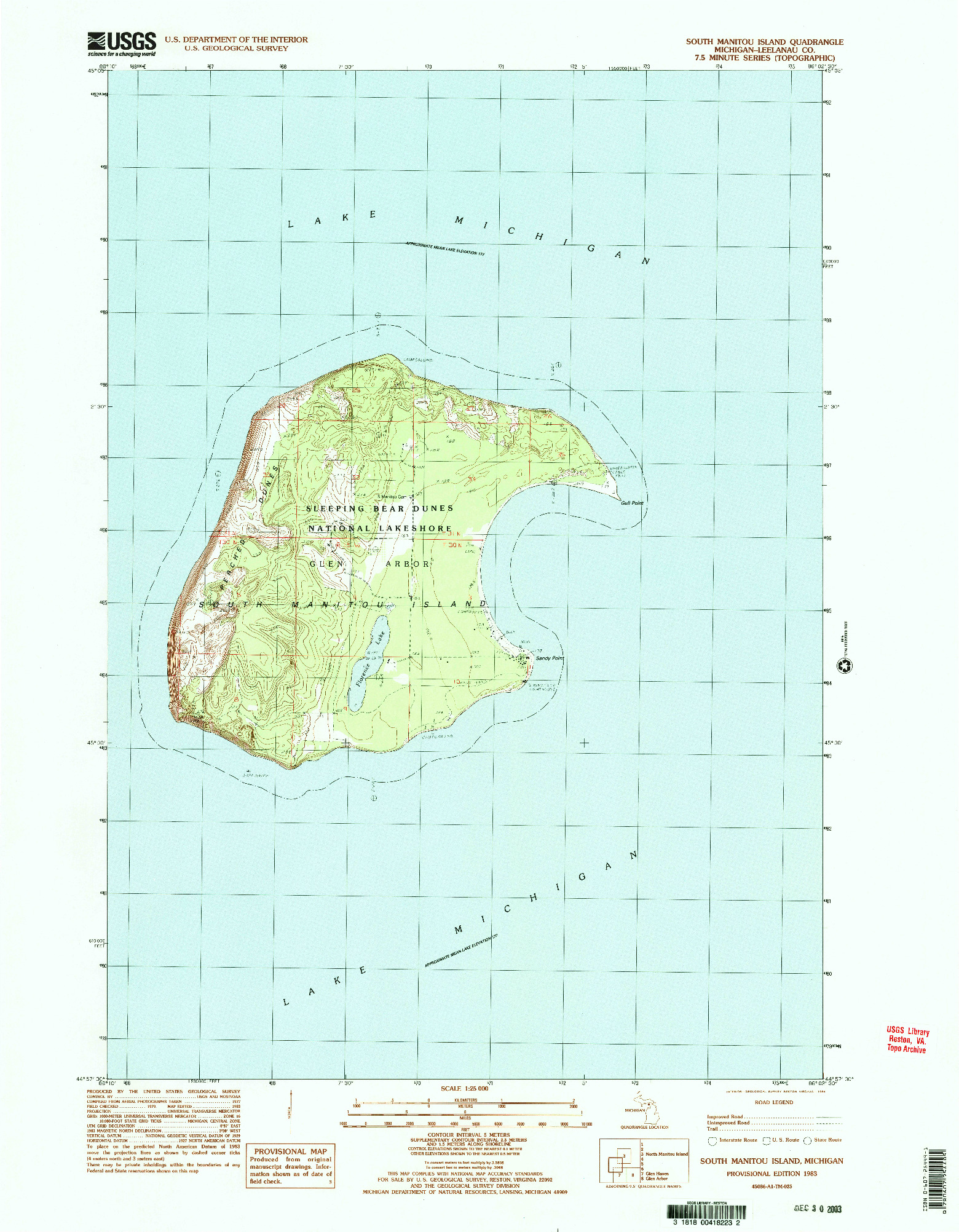 USGS 1:24000-SCALE QUADRANGLE FOR SOUTH MANITOU ISLAND, MI 1983