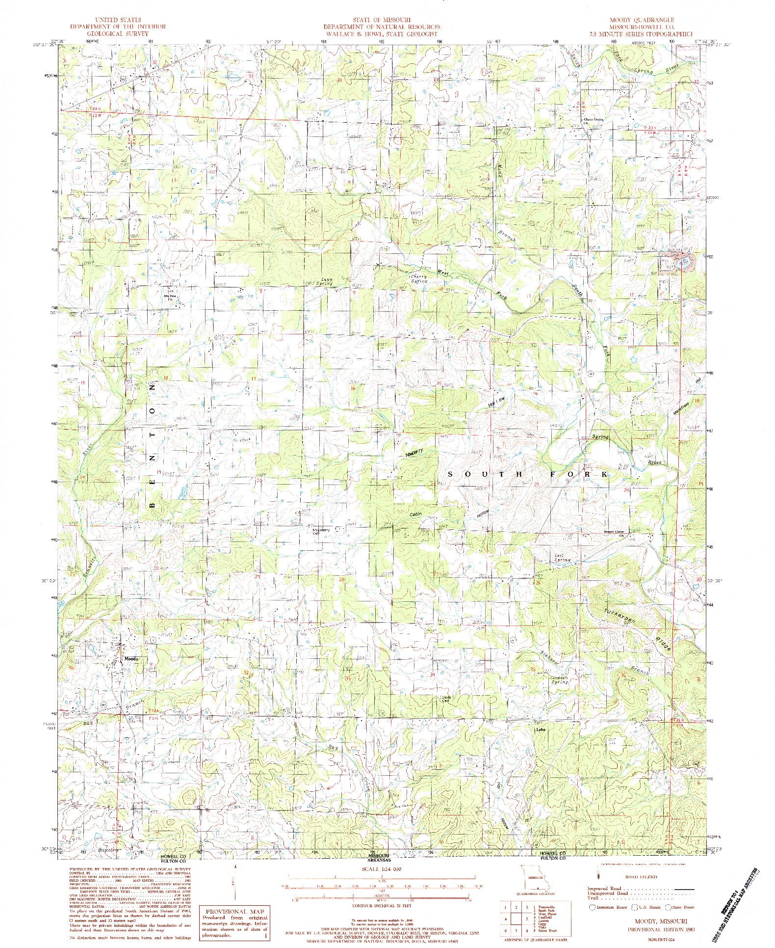 USGS 1:24000-SCALE QUADRANGLE FOR MOODY, MO 1983