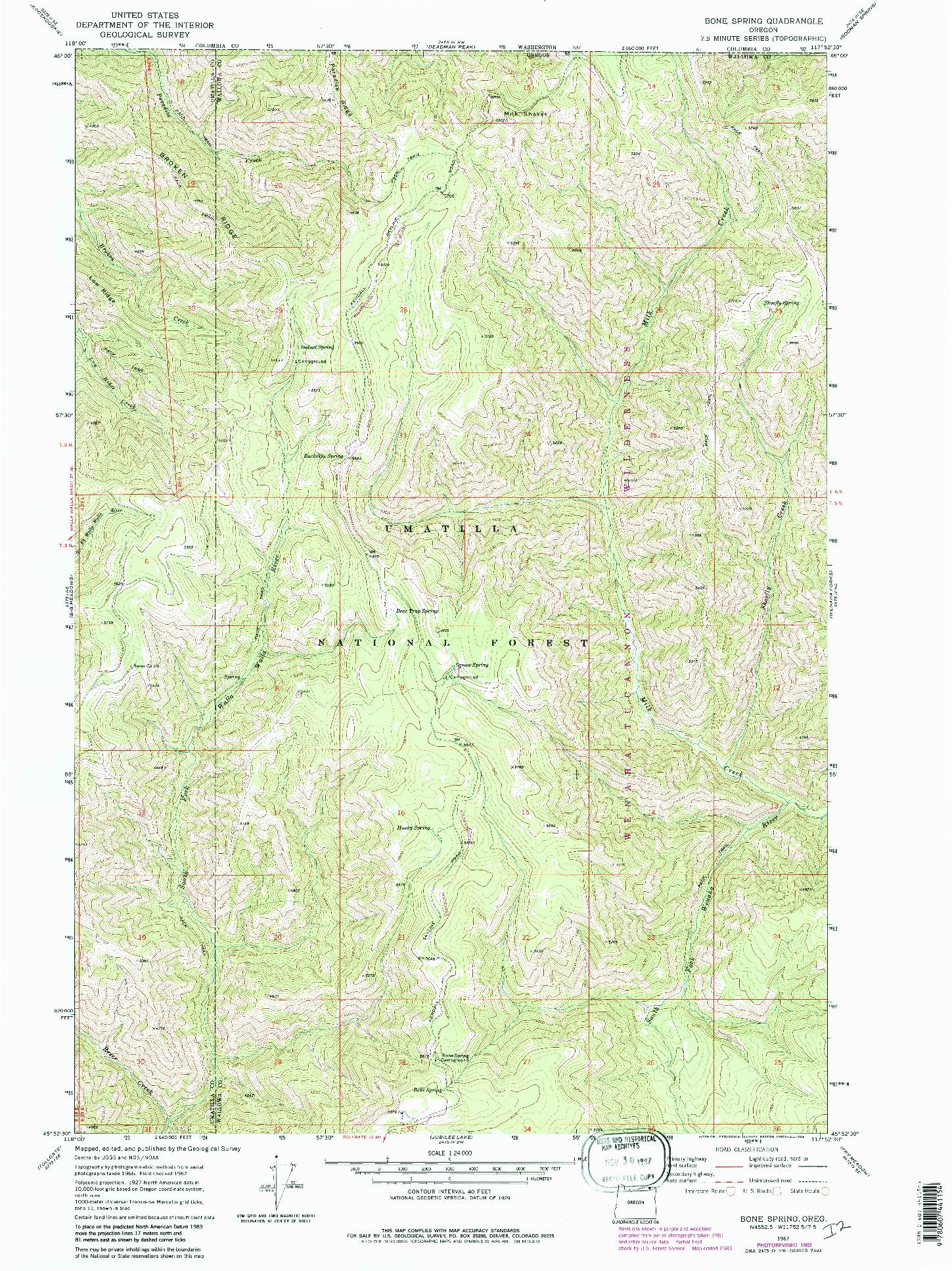 USGS 1:24000-SCALE QUADRANGLE FOR BONE SPRING, OR 1967