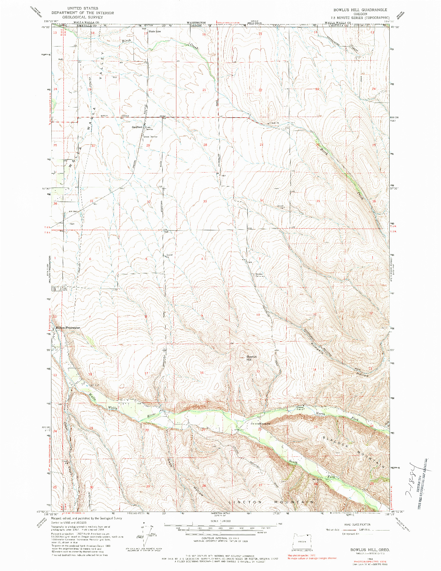 USGS 1:24000-SCALE QUADRANGLE FOR BOWLUS HILL, OR 1964