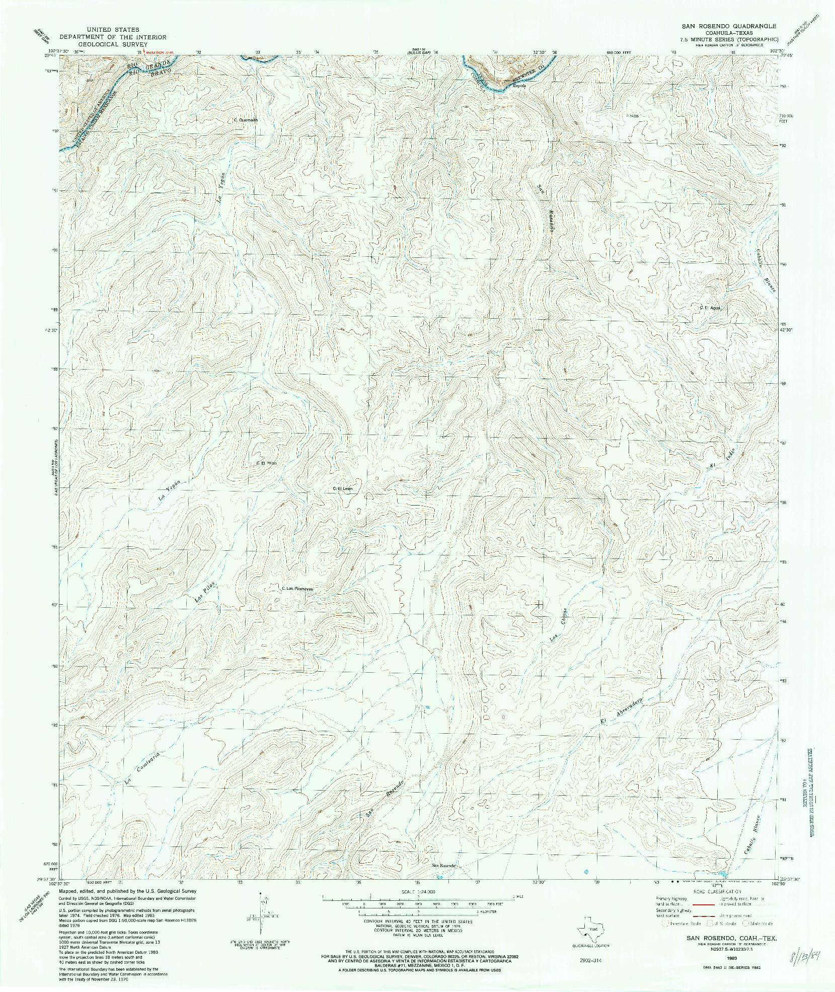 USGS 1:24000-SCALE QUADRANGLE FOR SAN ROSENDO, TX 1983