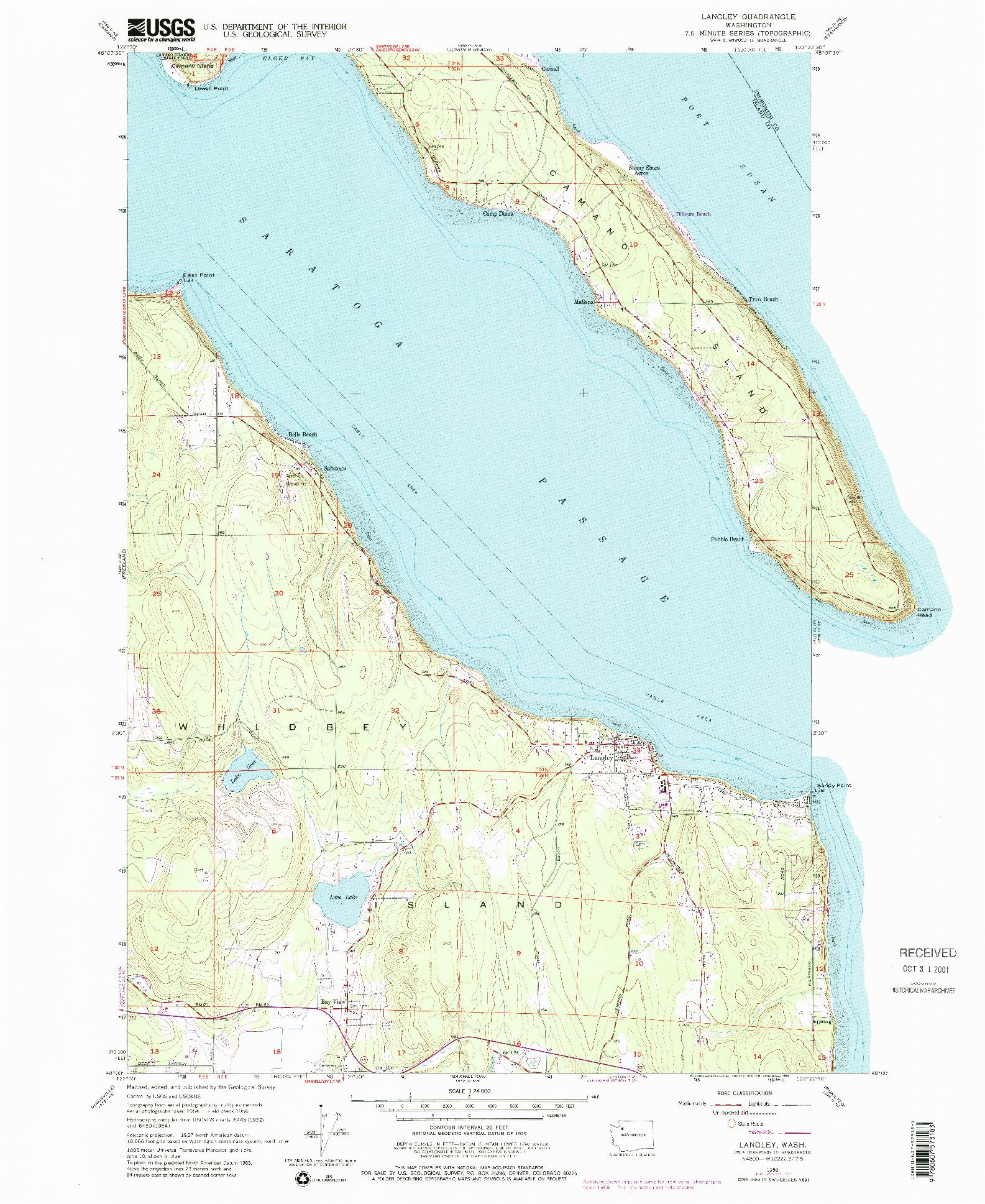 USGS 1:24000-SCALE QUADRANGLE FOR LANGLEY, WA 1956