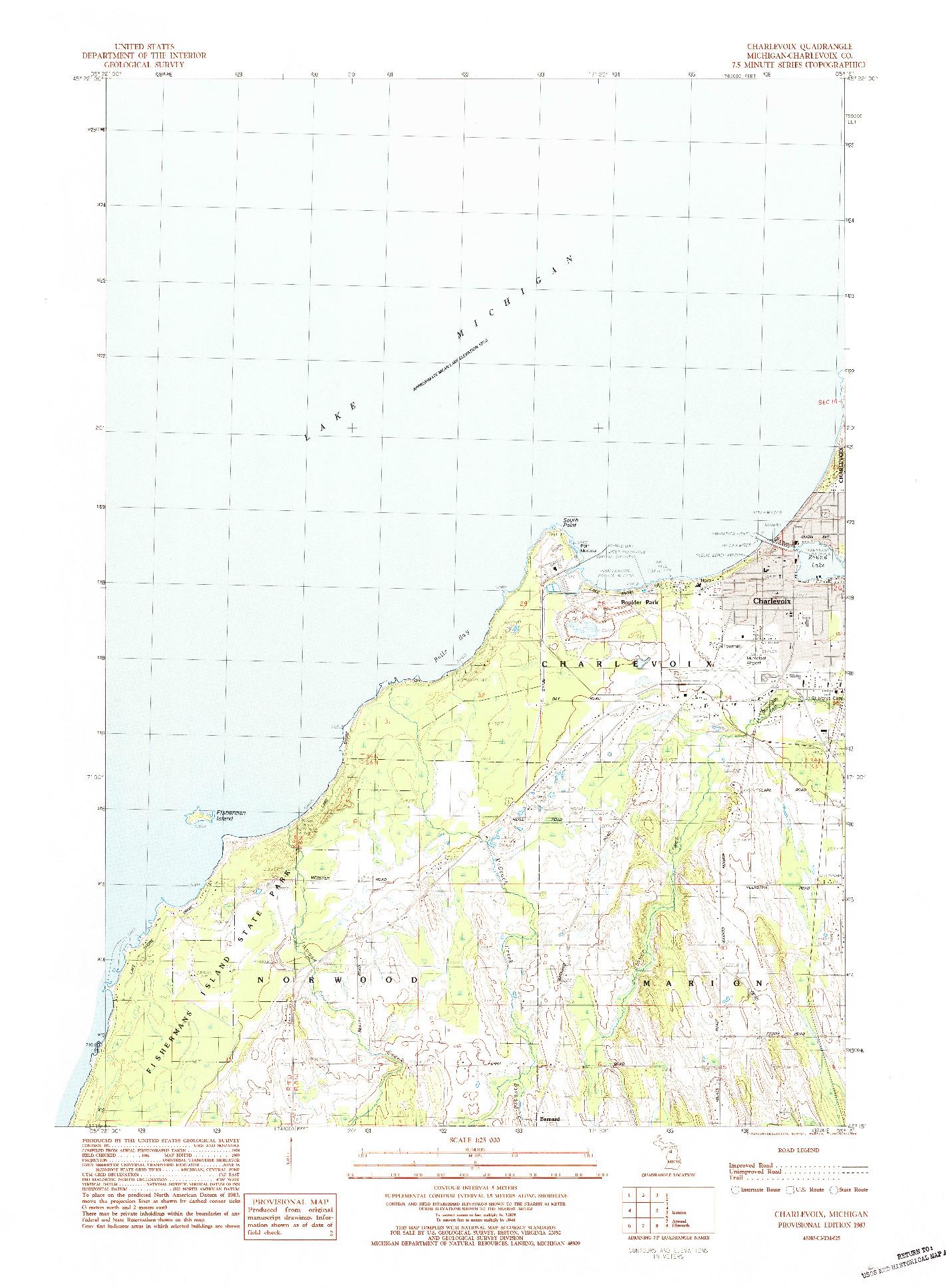 USGS 1:25000-SCALE QUADRANGLE FOR CHARLEVOIX, MI 1983