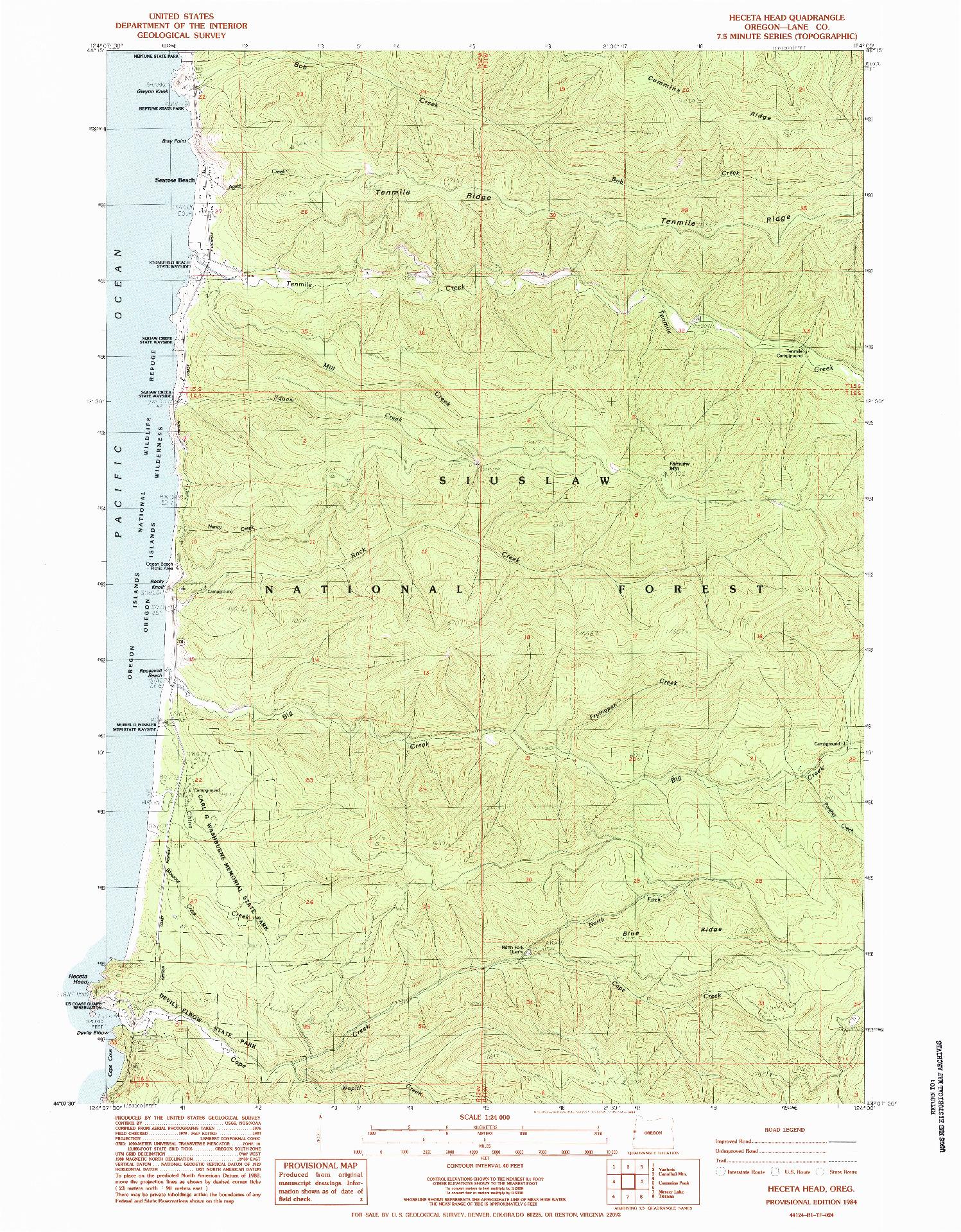 USGS 1:24000-SCALE QUADRANGLE FOR HECETA HEAD, OR 1984