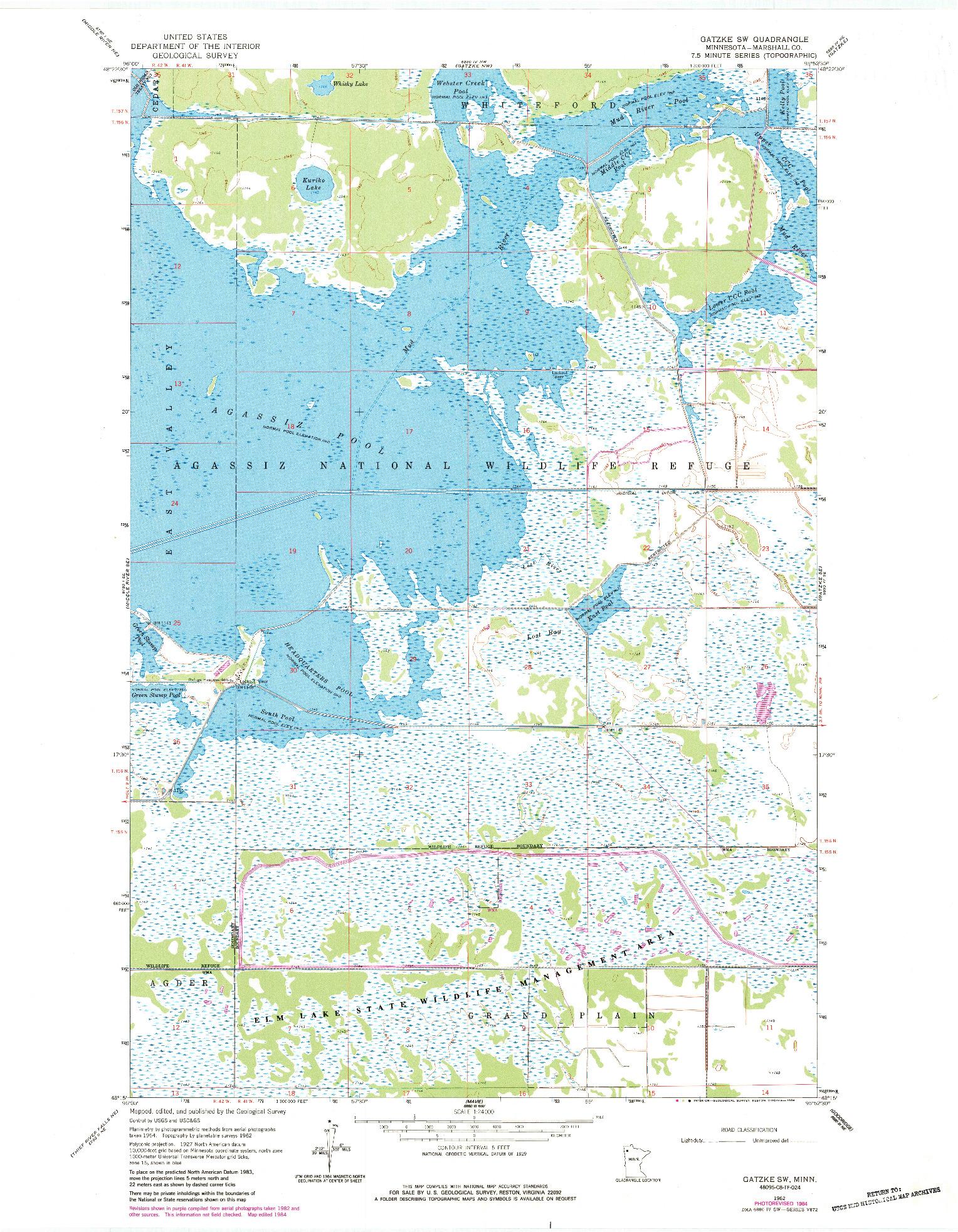 USGS 1:24000-SCALE QUADRANGLE FOR GATZKE SW, MN 1962