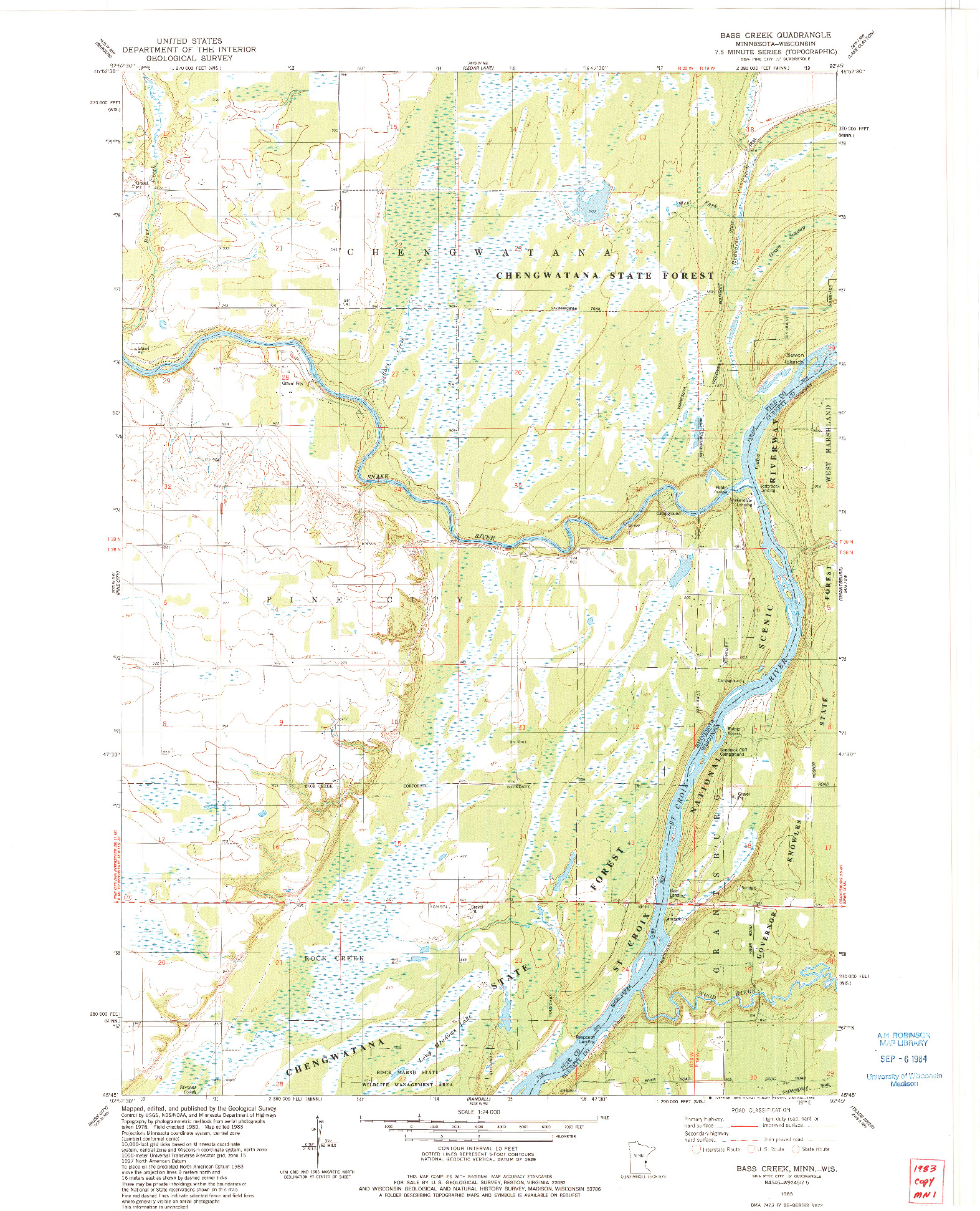 USGS 1:24000-SCALE QUADRANGLE FOR BASS CREEK, MN 1983