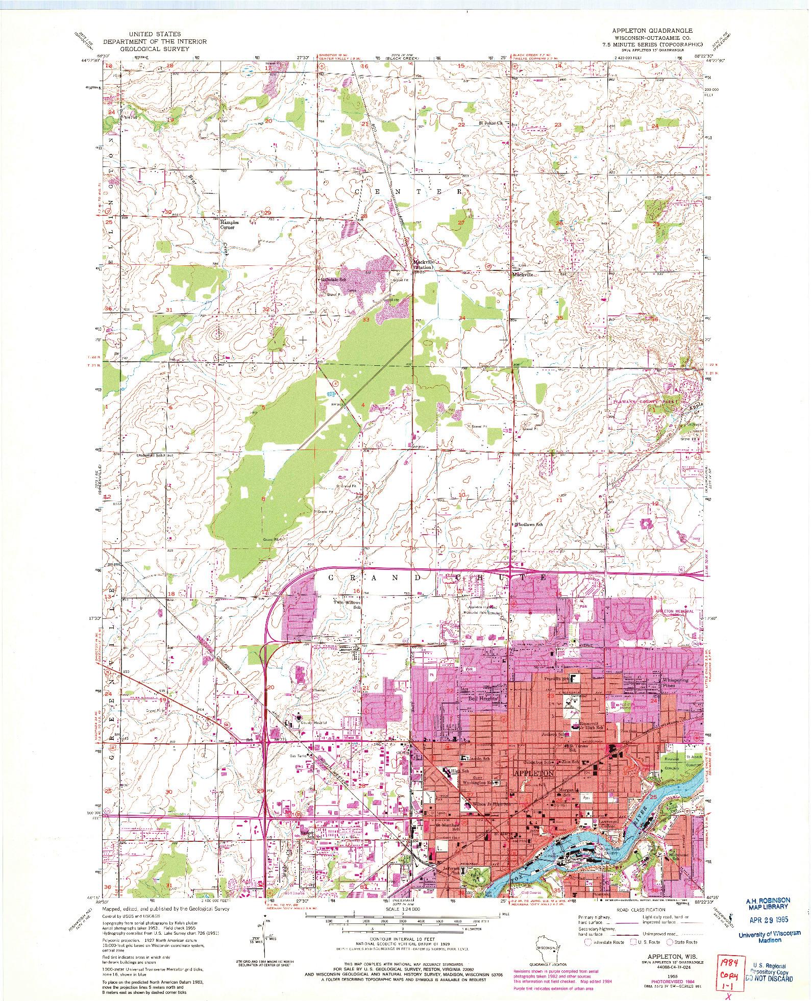 USGS 1:24000-SCALE QUADRANGLE FOR APPLETON, WI 1955