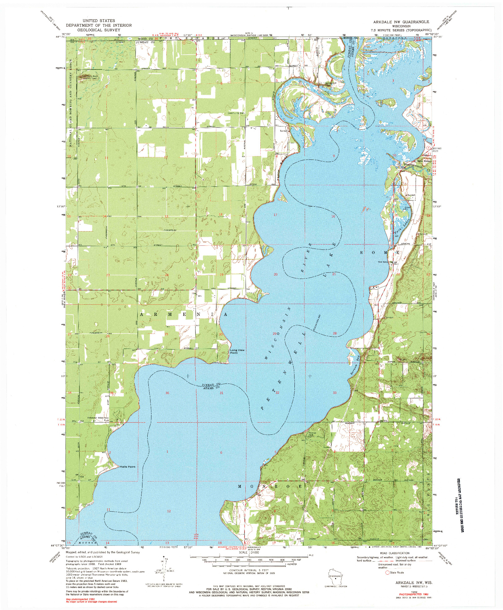 USGS 1:24000-SCALE QUADRANGLE FOR ARKDALE NW, WI 1969