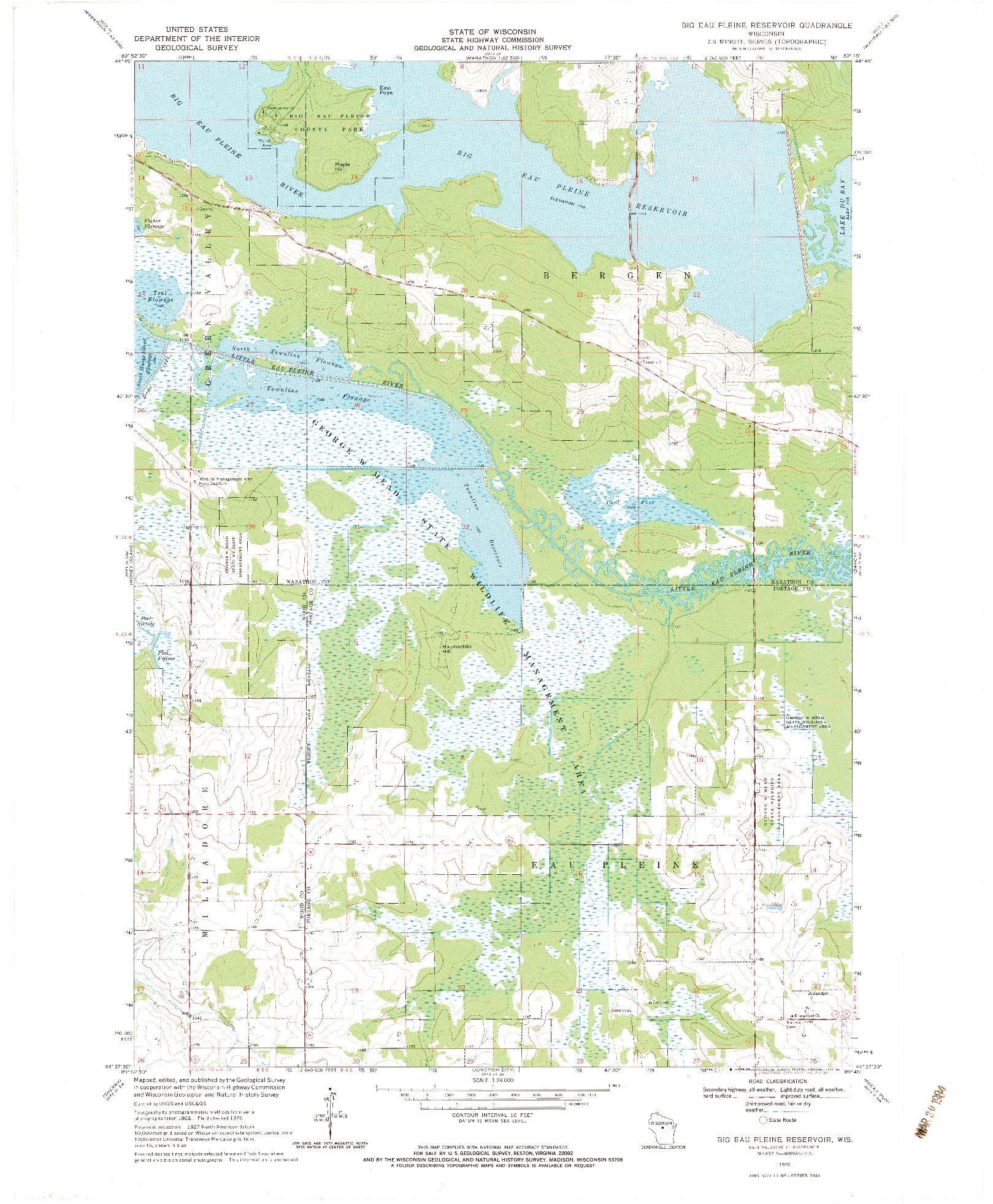 USGS 1:24000-SCALE QUADRANGLE FOR BIG EAU PLEINE RESERVOIR, WI 1970