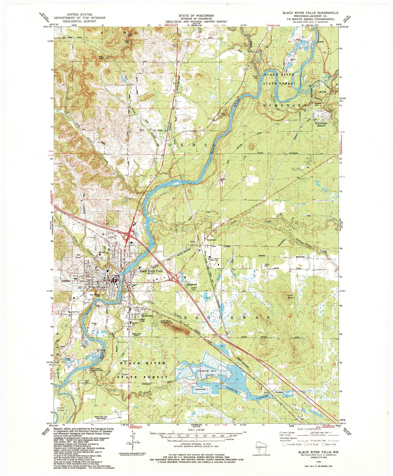 USGS 1:24000-SCALE QUADRANGLE FOR BLACK RIVER FALLS, WI 1984