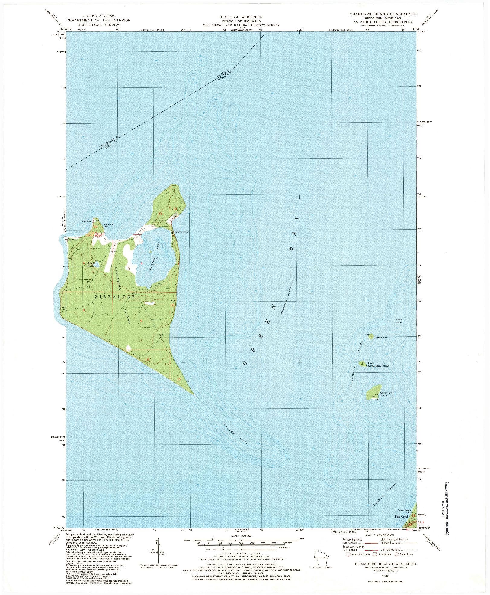 USGS 1:24000-SCALE QUADRANGLE FOR CHAMBERS ISLAND, WI 1982
