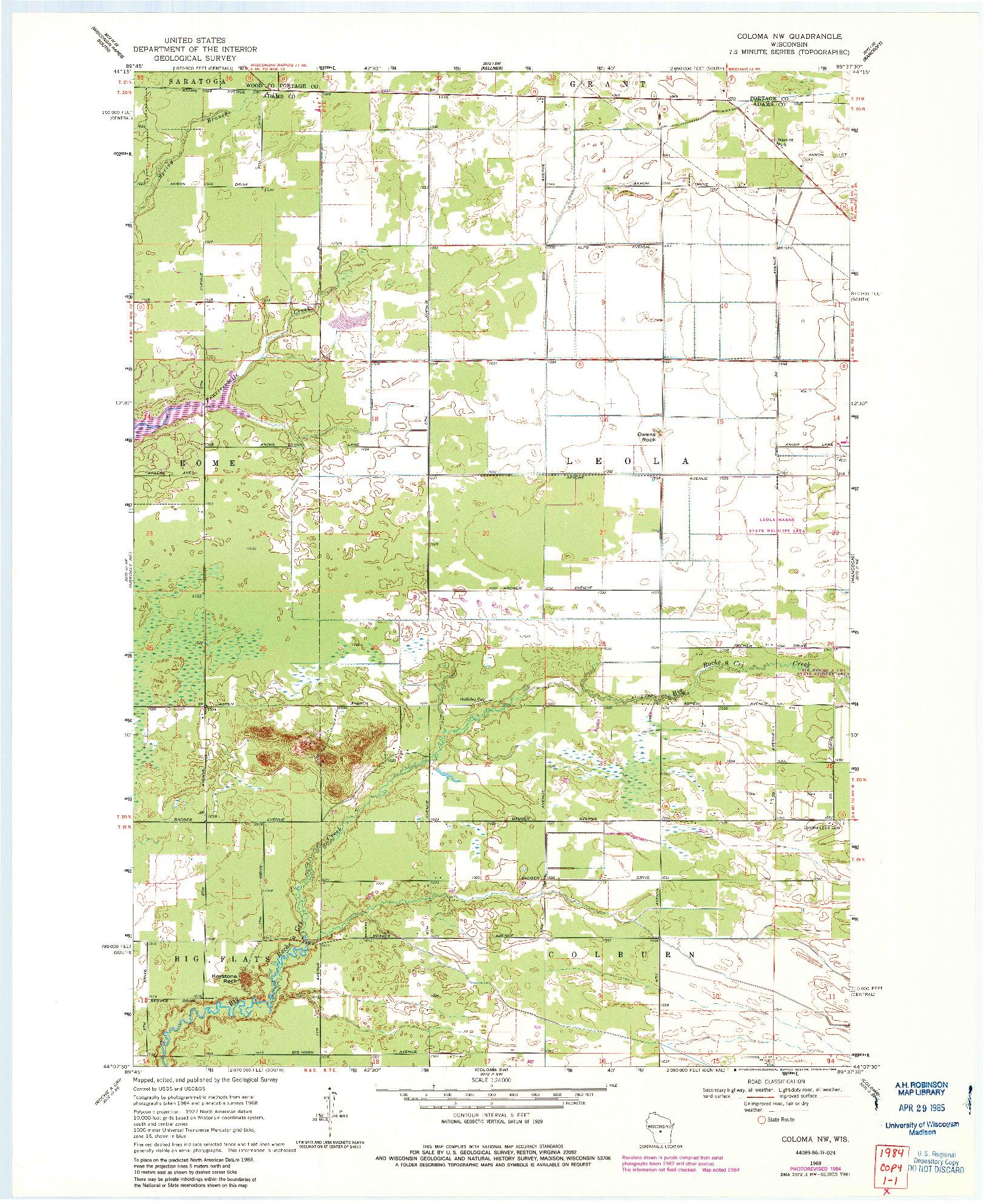 USGS 1:24000-SCALE QUADRANGLE FOR COLOMA NW, WI 1968
