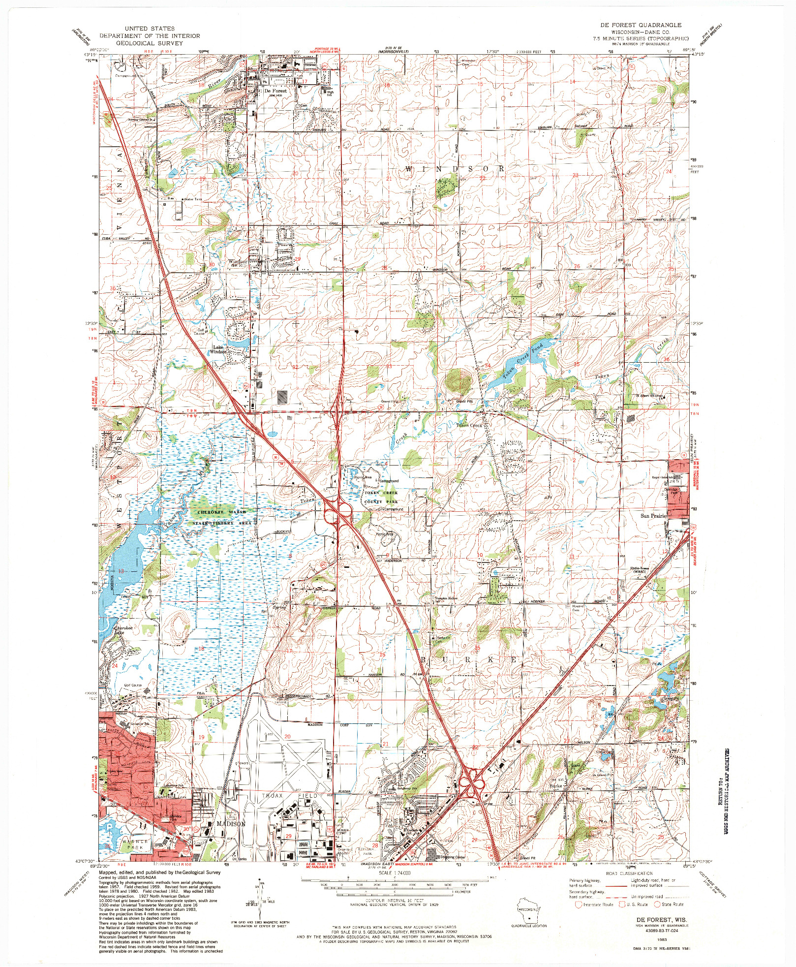 USGS 1:24000-SCALE QUADRANGLE FOR DE FOREST, WI 1983