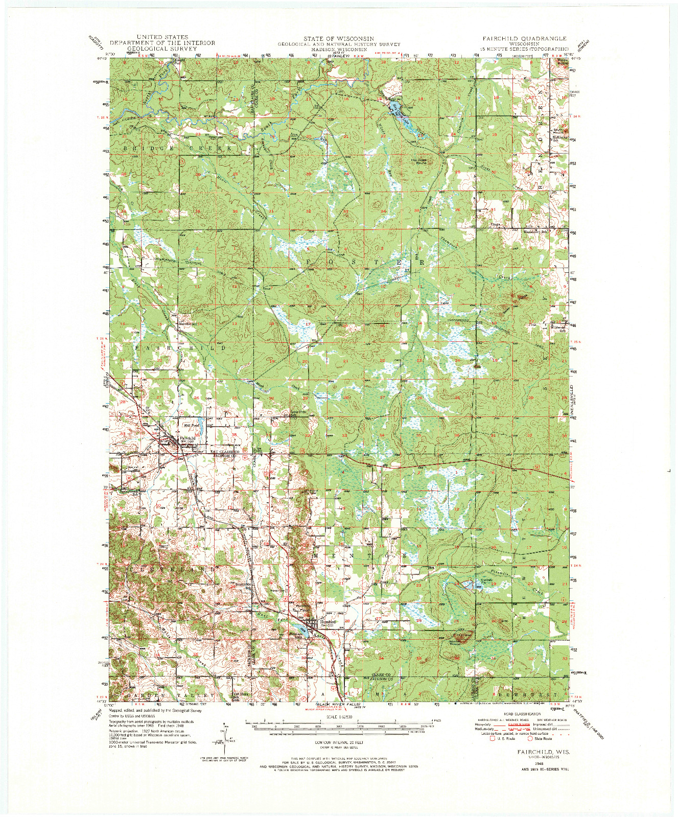 USGS 1:62500-SCALE QUADRANGLE FOR FAIRCHILD, WI 1948