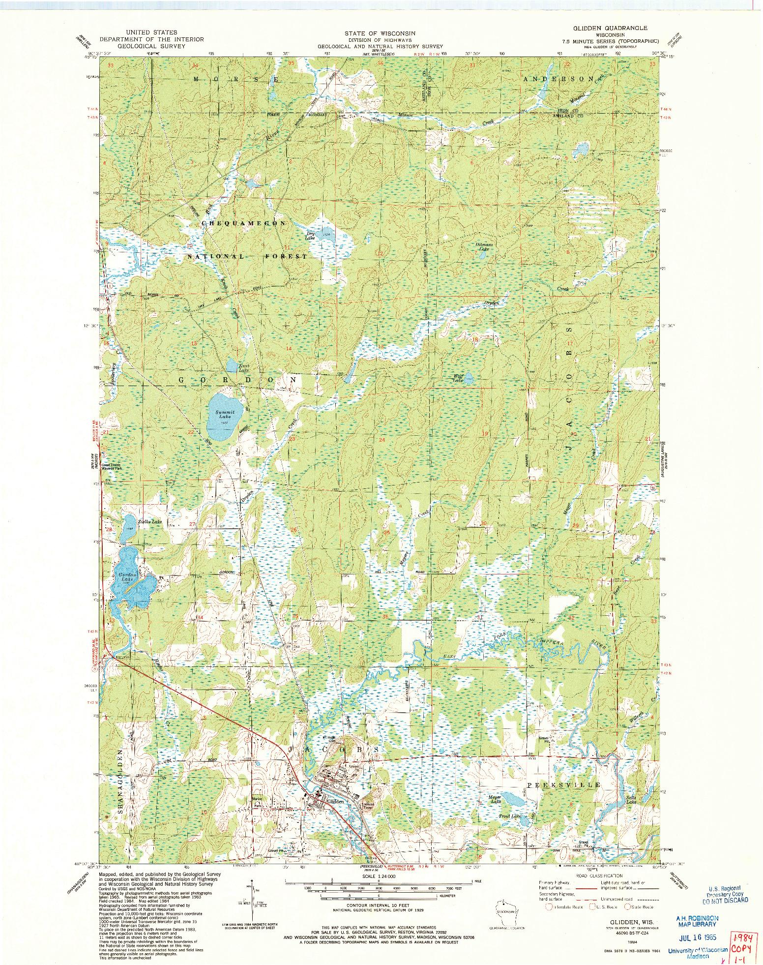 USGS 1:24000-SCALE QUADRANGLE FOR GLIDDEN, WI 1984