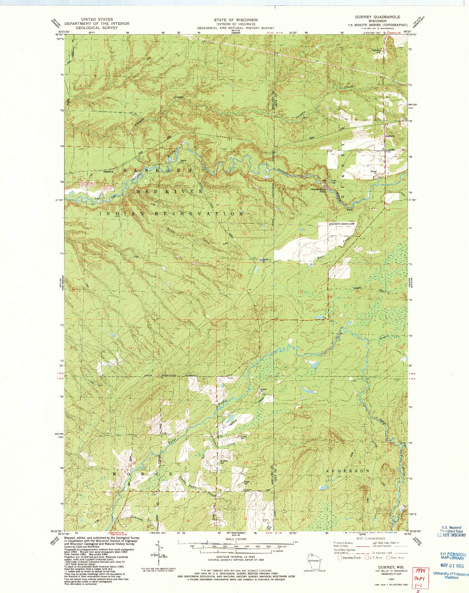 USGS 1:24000-SCALE QUADRANGLE FOR GURNEY, WI 1984