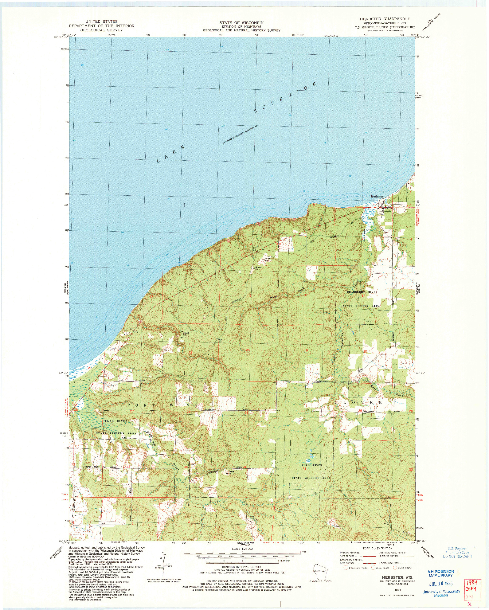 USGS 1:24000-SCALE QUADRANGLE FOR HERBSTER, WI 1984
