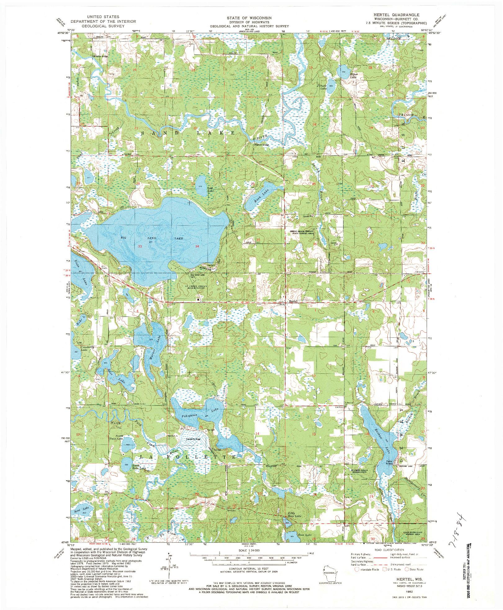 USGS 1:24000-SCALE QUADRANGLE FOR HERTEL, WI 1982