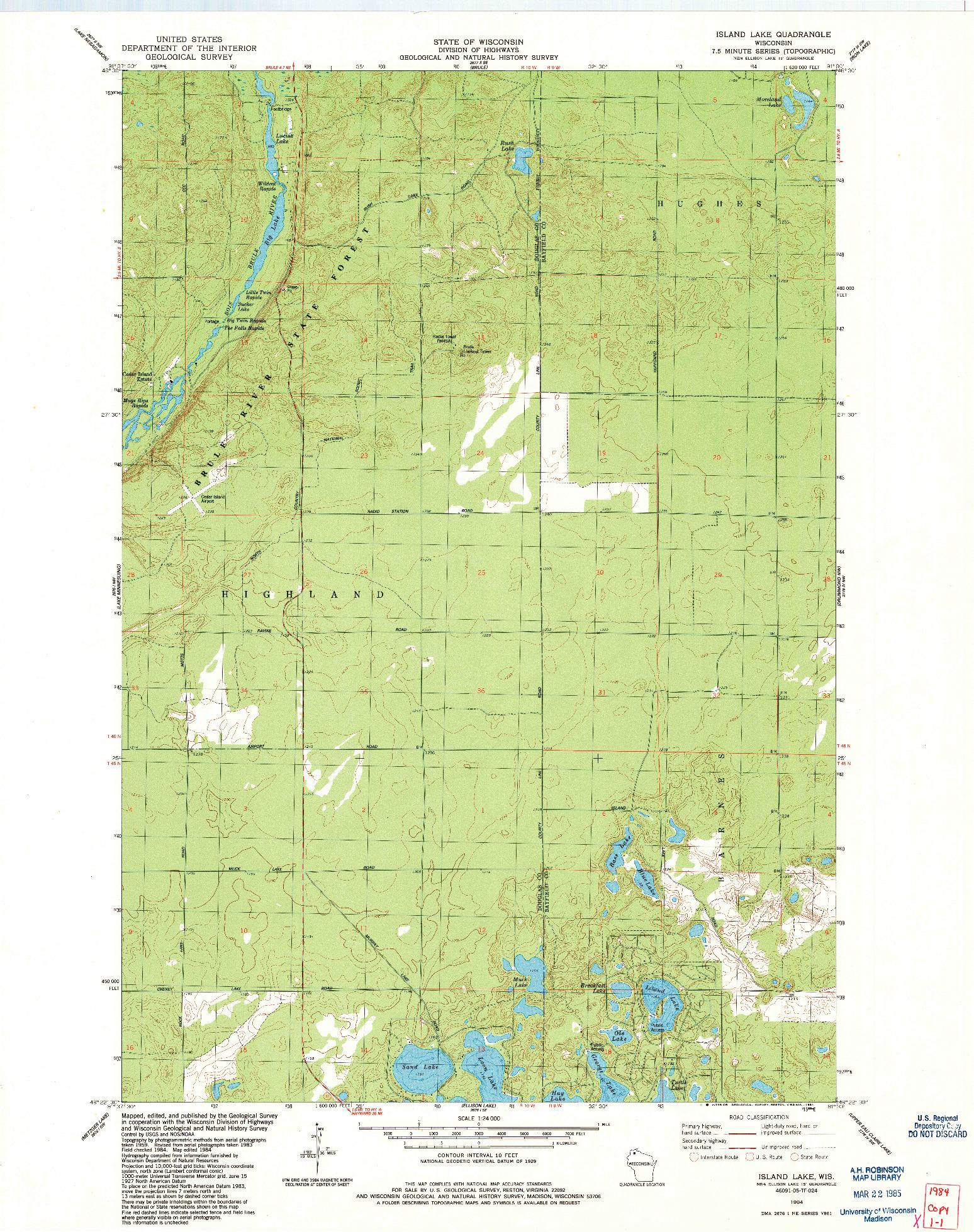 USGS 1:24000-SCALE QUADRANGLE FOR ISLAND LAKE, WI 1984