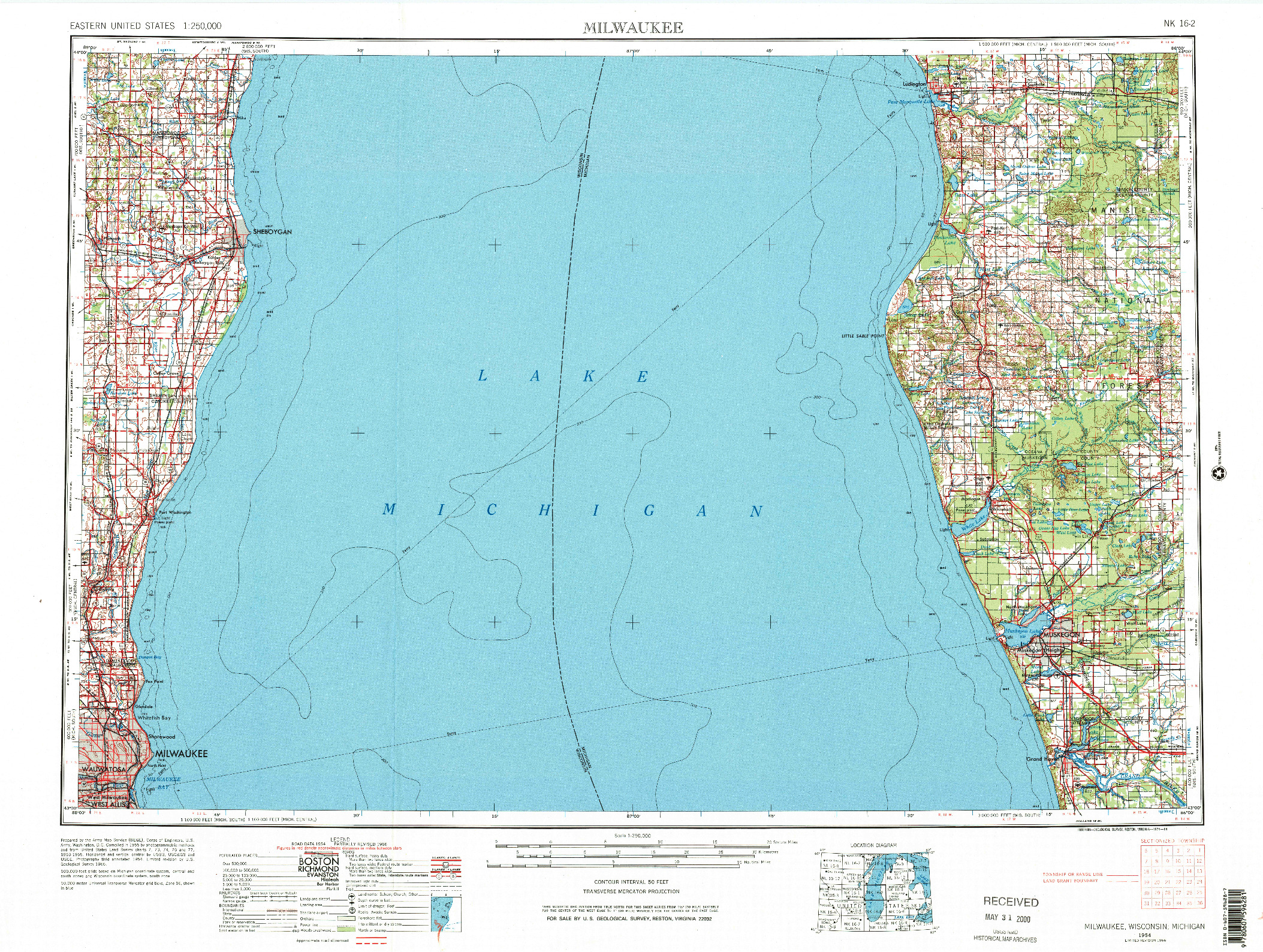 USGS 1:250000-SCALE QUADRANGLE FOR MILWAUKEE, WI 1954