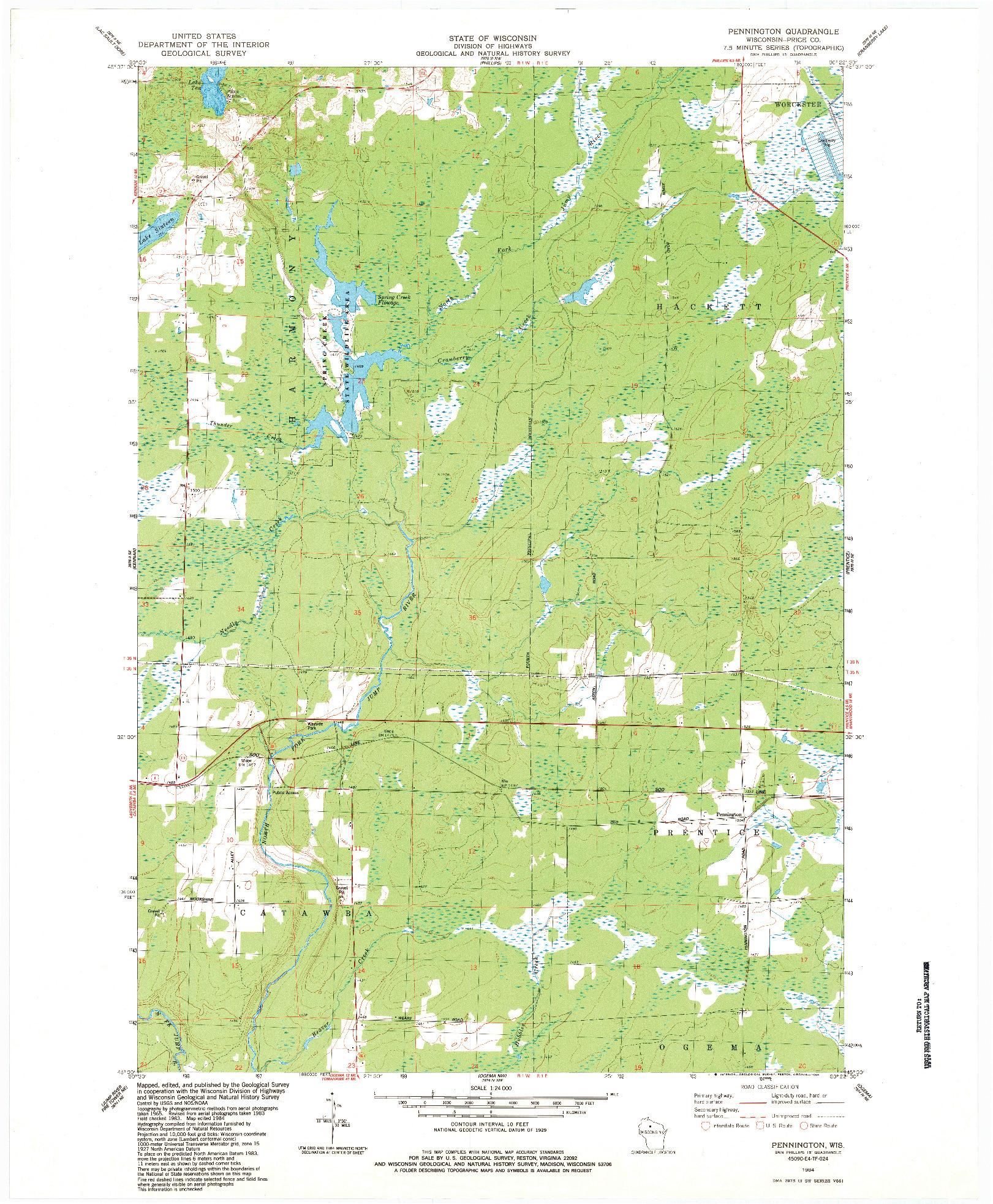 USGS 1:24000-SCALE QUADRANGLE FOR PENNINGTON, WI 1984