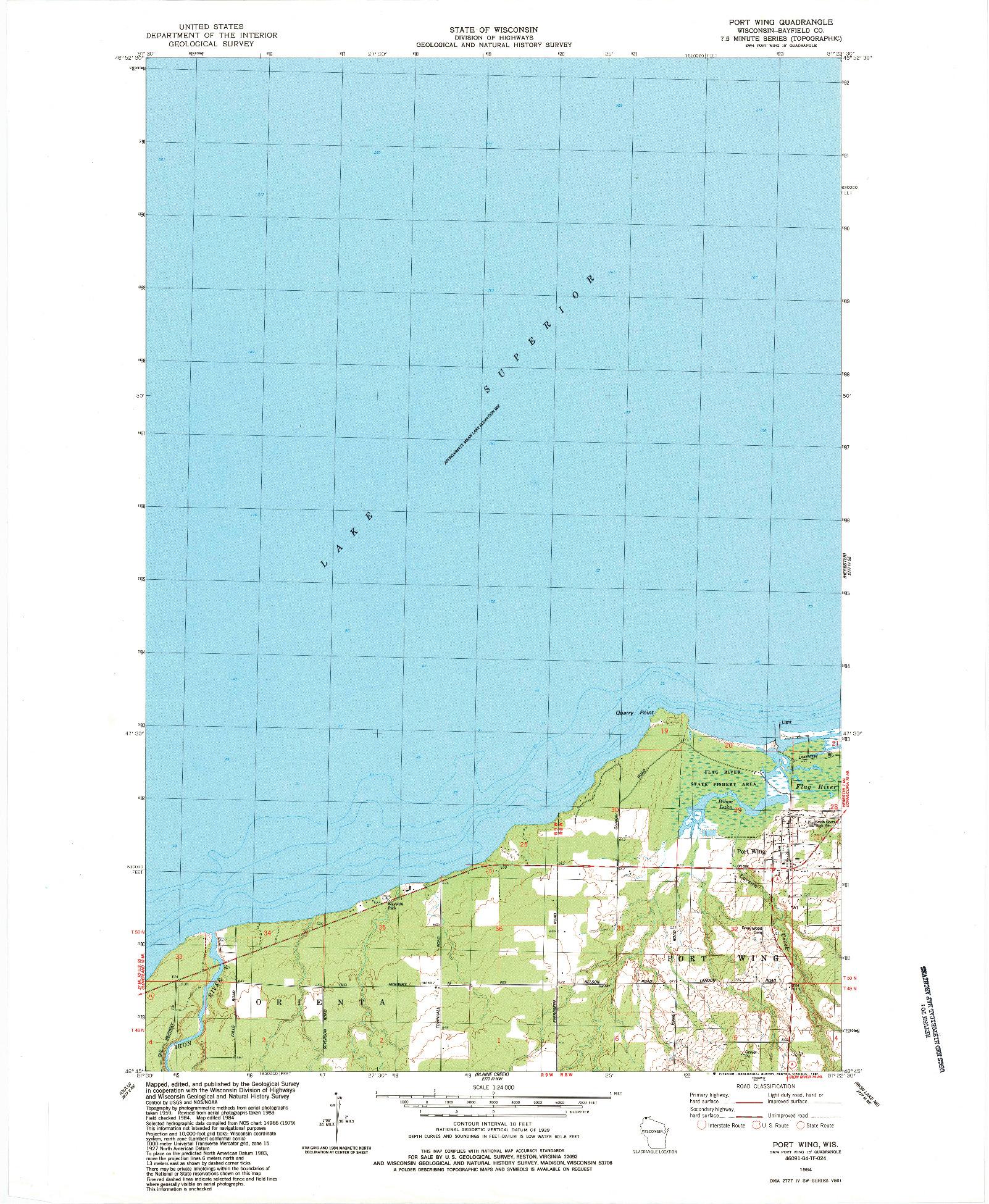 USGS 1:24000-SCALE QUADRANGLE FOR PORT WING, WI 1984