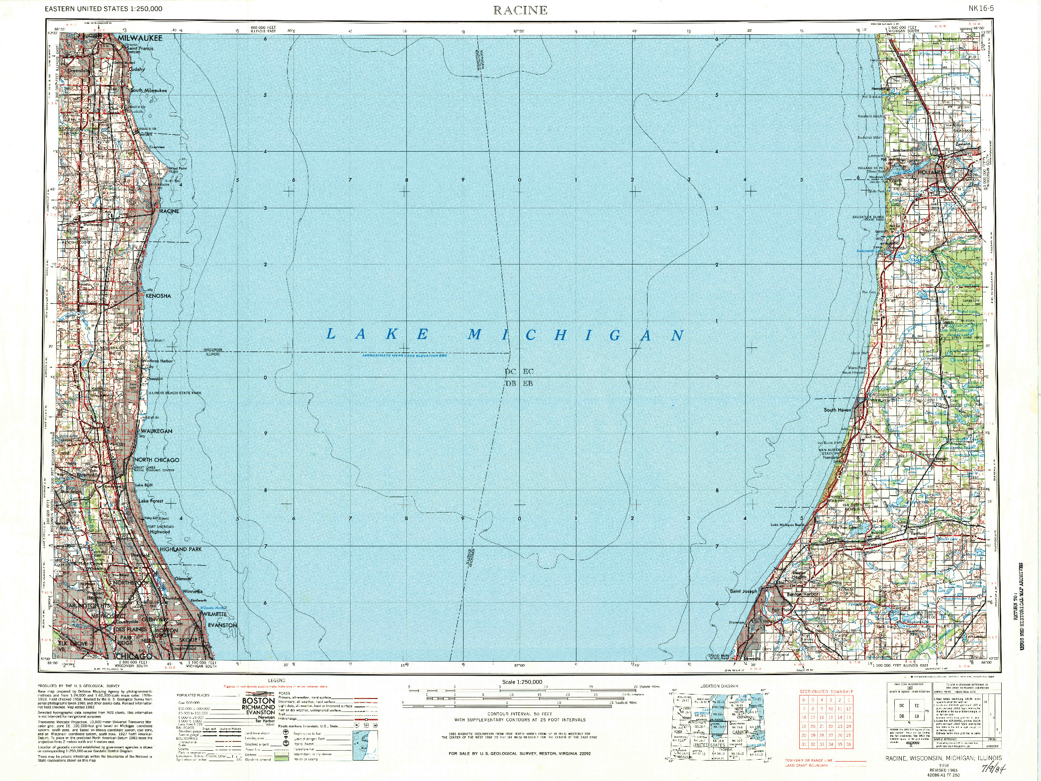 USGS 1:250000-SCALE QUADRANGLE FOR RACINE, WI 1958
