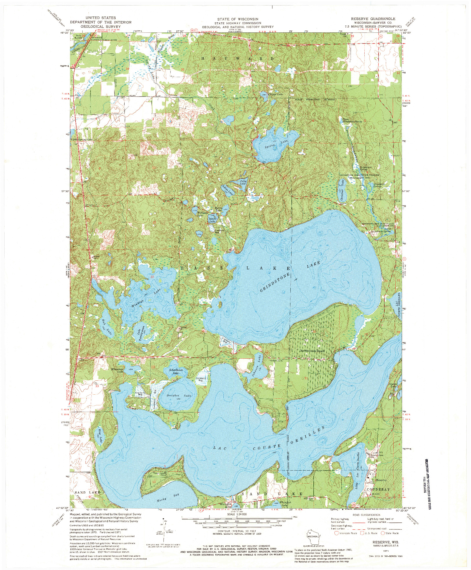 USGS 1:24000-SCALE QUADRANGLE FOR RESERVE, WI 1971