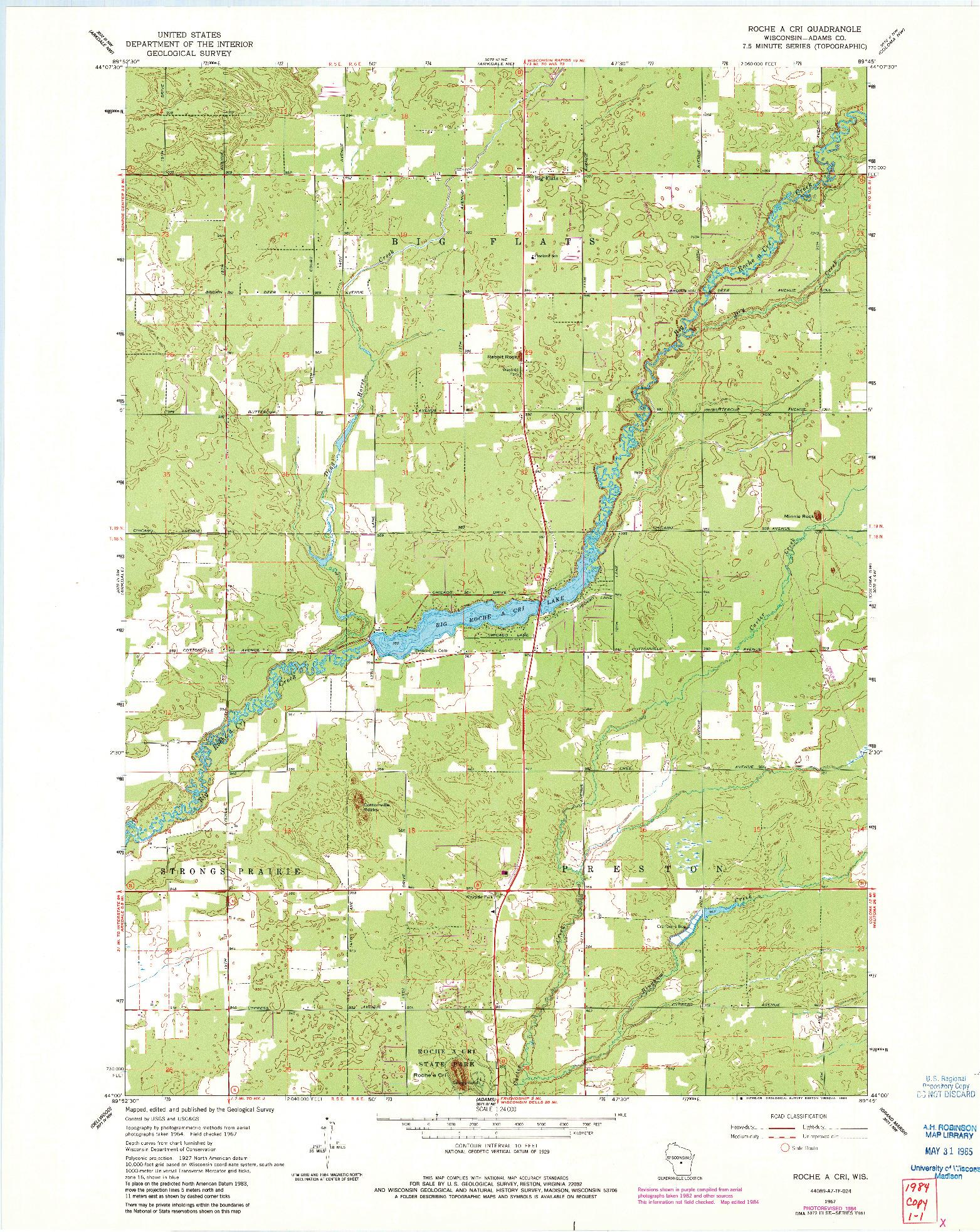 USGS 1:24000-SCALE QUADRANGLE FOR ROCHE A CRI, WI 1967