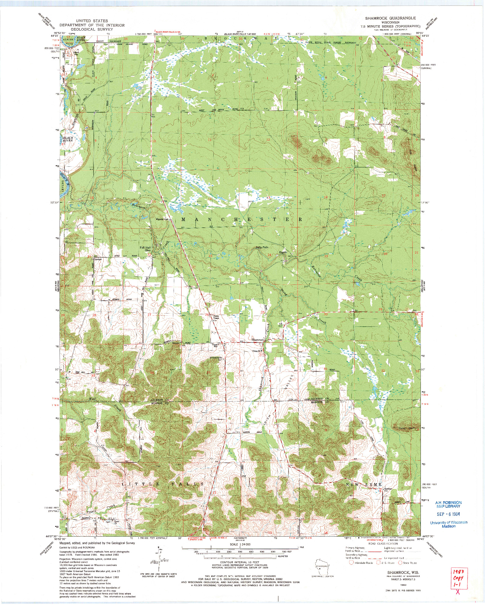 USGS 1:24000-SCALE QUADRANGLE FOR SHAMROCK, WI 1983