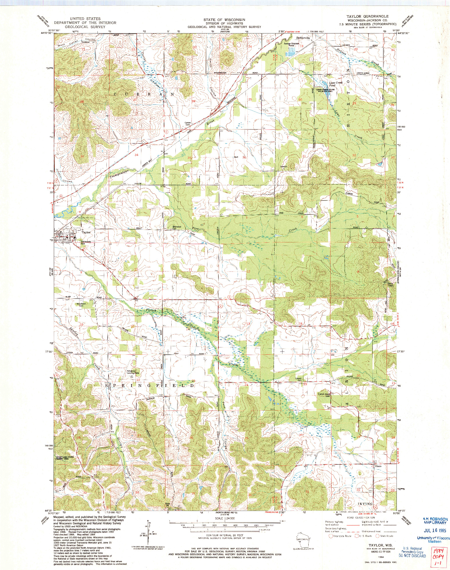USGS 1:24000-SCALE QUADRANGLE FOR TAYLOR, WI 1984