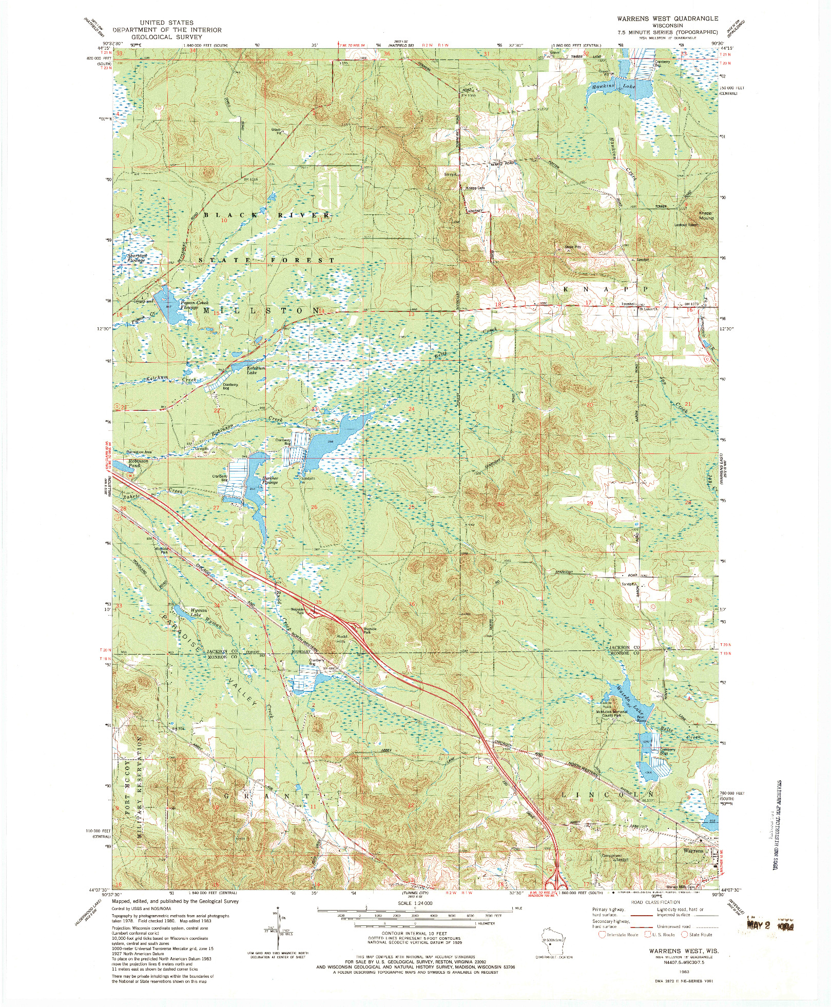 USGS 1:24000-SCALE QUADRANGLE FOR WARRENS WEST, WI 1983