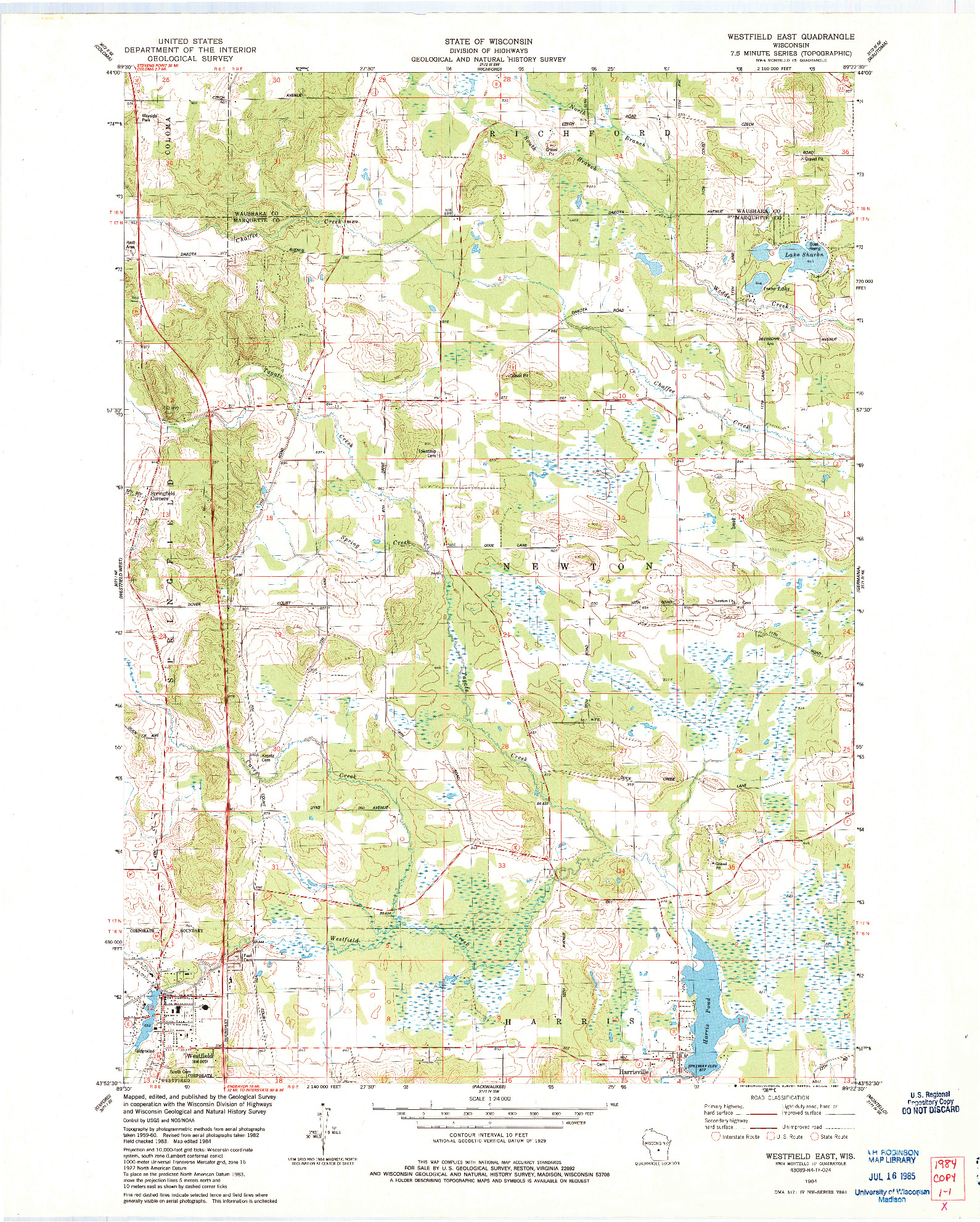 USGS 1:24000-SCALE QUADRANGLE FOR WESTFIELD EAST, WI 1984