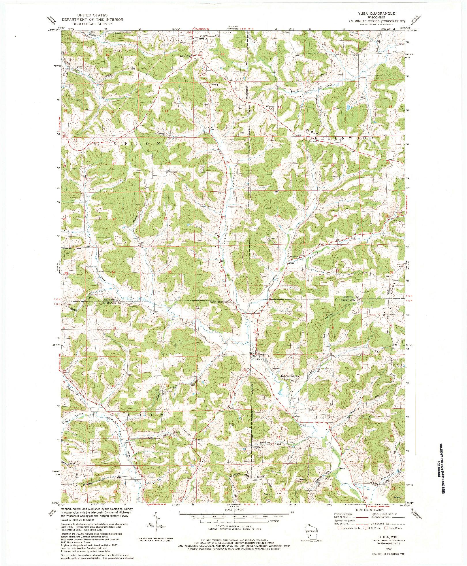 USGS 1:24000-SCALE QUADRANGLE FOR YUBA, WI 1983