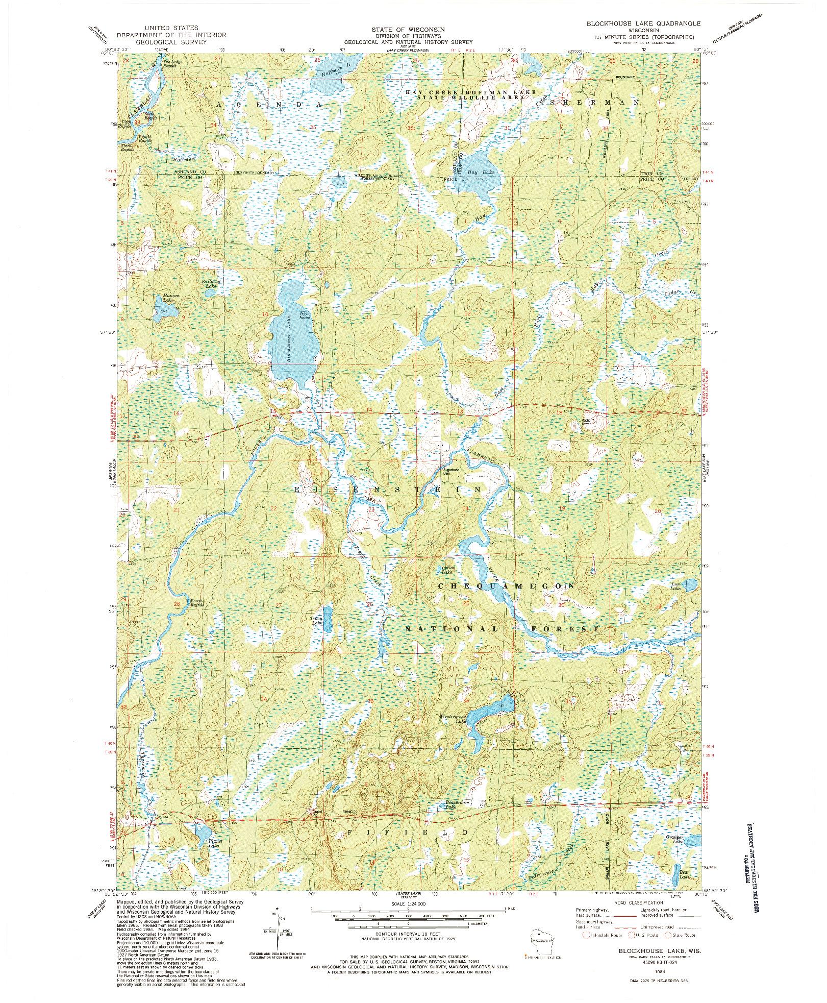 USGS 1:24000-SCALE QUADRANGLE FOR BLOCKHOUSE LAKE, WI 1984