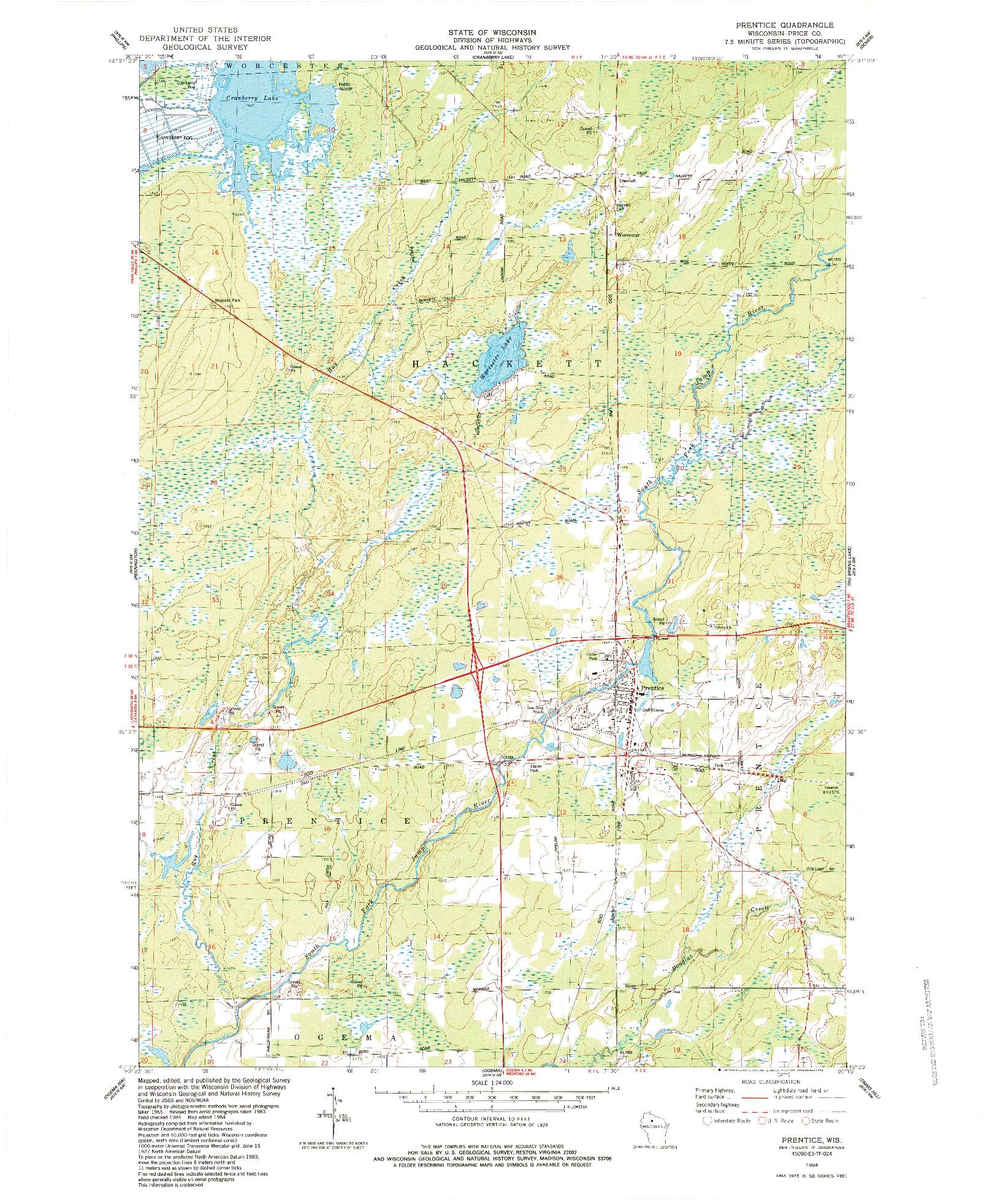 USGS 1:24000-SCALE QUADRANGLE FOR PRENTICE, WI 1984