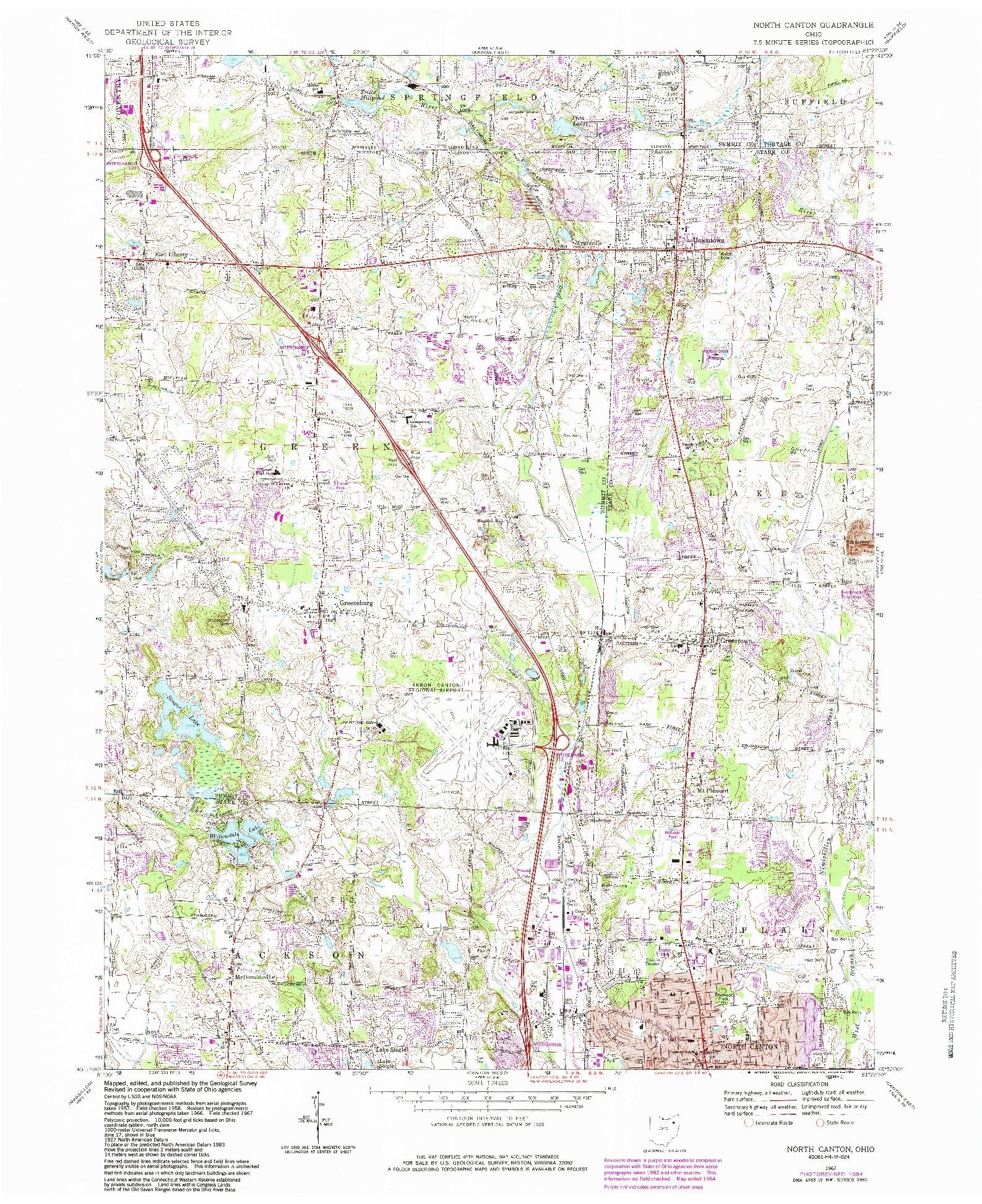 USGS 1:24000-SCALE QUADRANGLE FOR NORTH CANTON, OH 1967