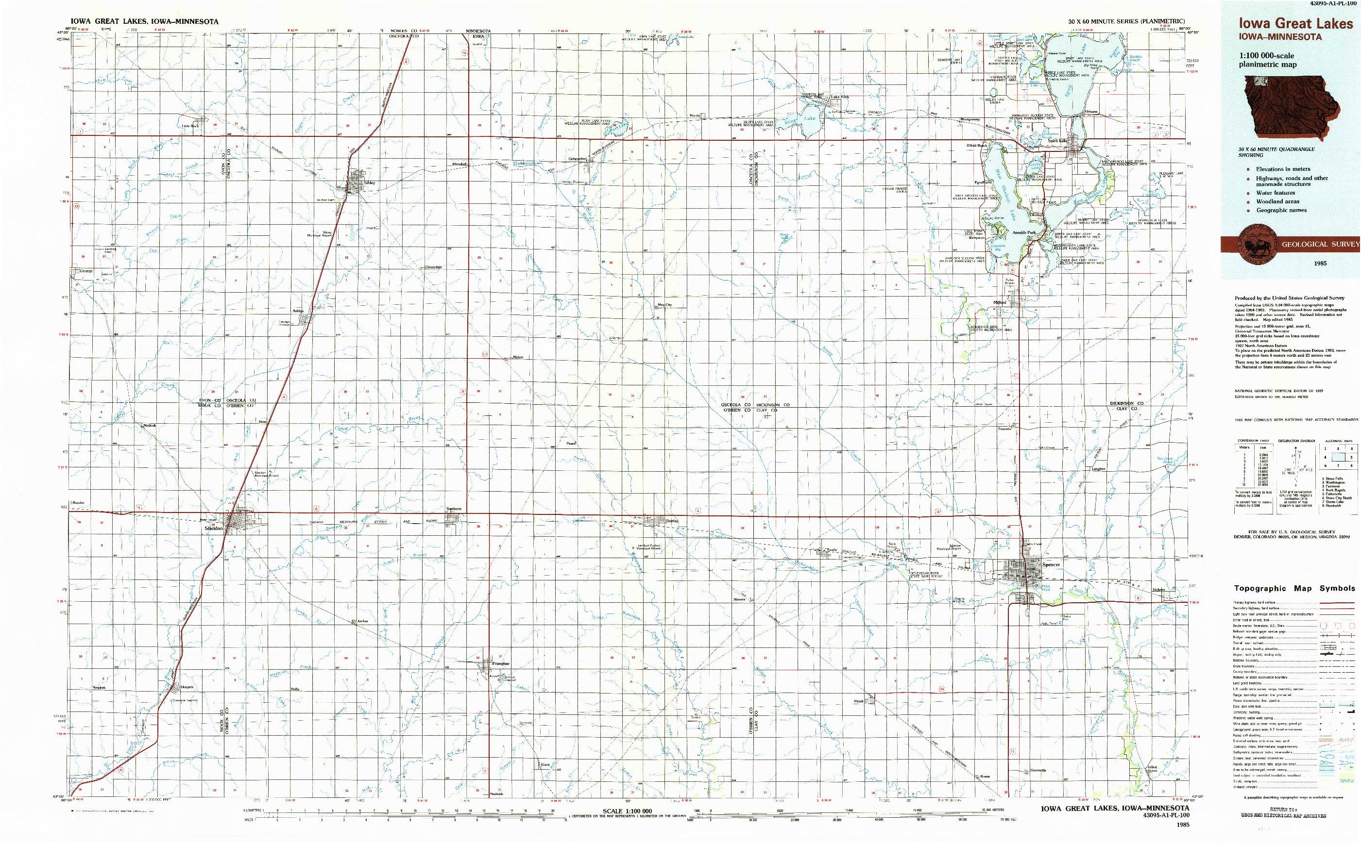 USGS 1:100000-SCALE QUADRANGLE FOR IOWA GREAT LAKES, IA 1985