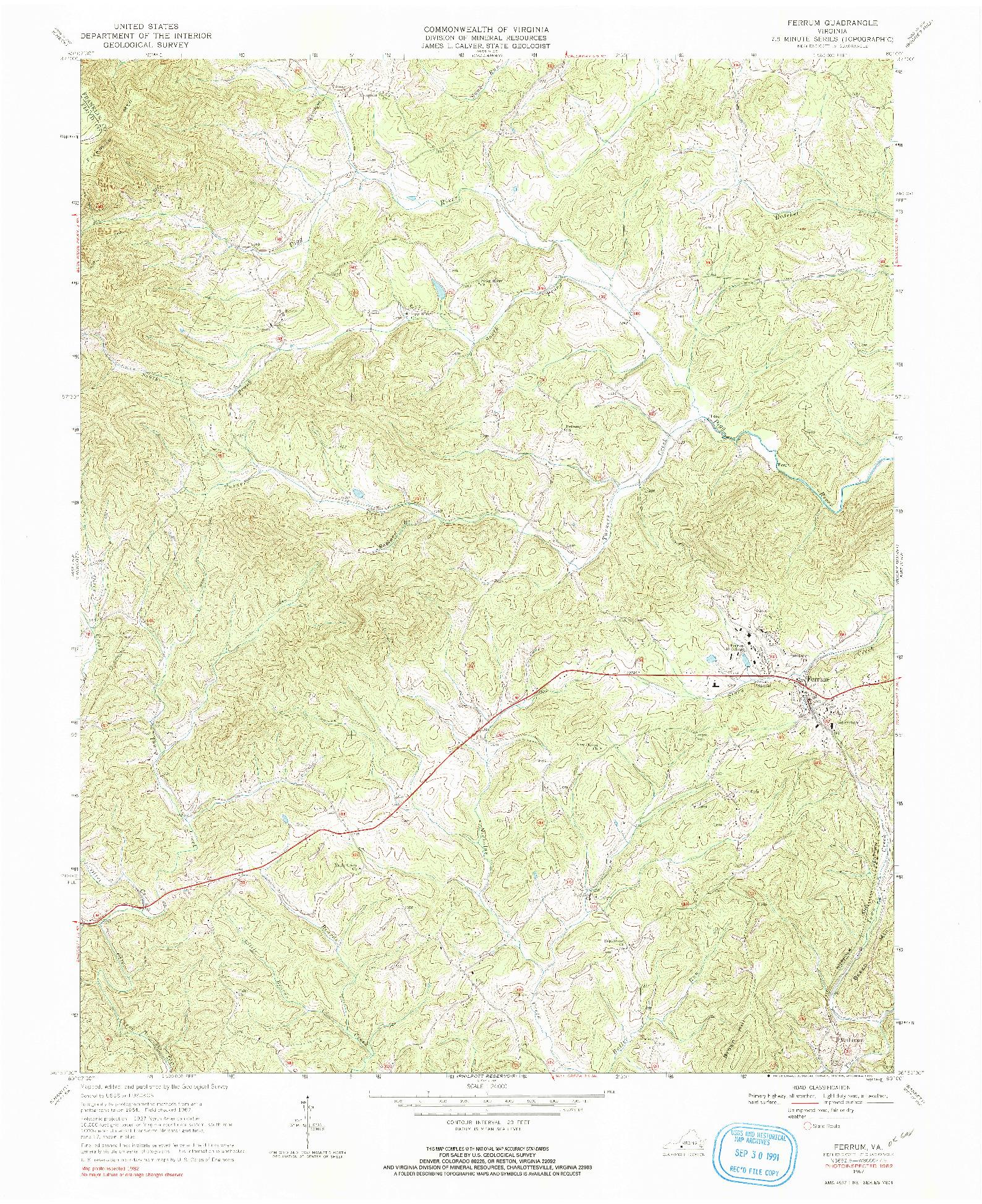 USGS 1:24000-SCALE QUADRANGLE FOR FERRUM, VA 1967