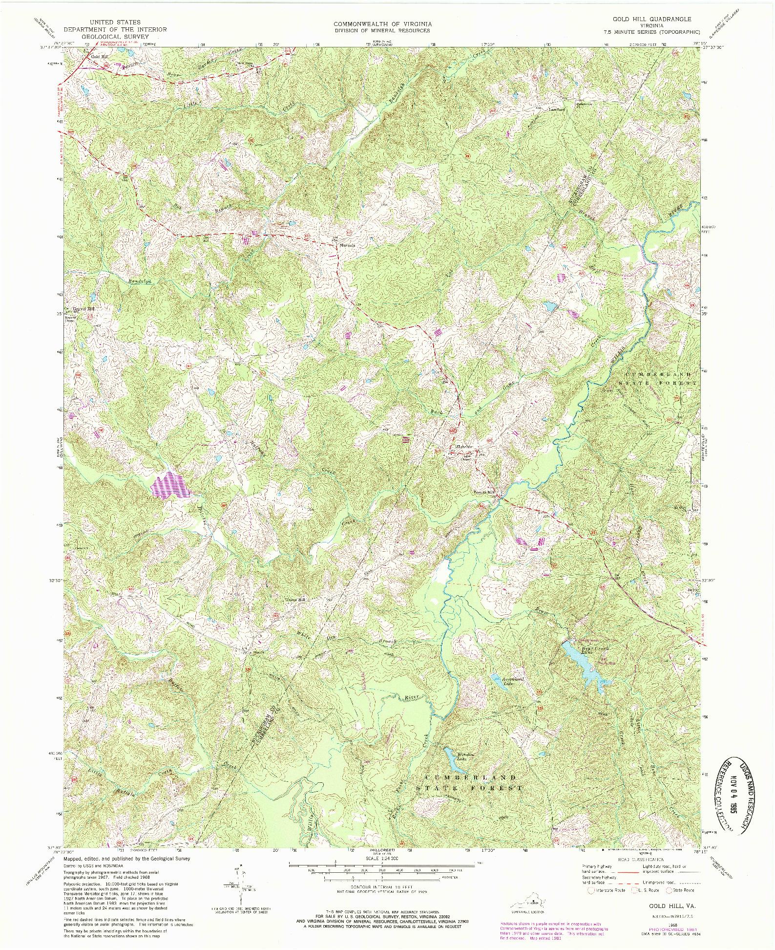 USGS 1:24000-SCALE QUADRANGLE FOR GOLD HILL, VA 1968