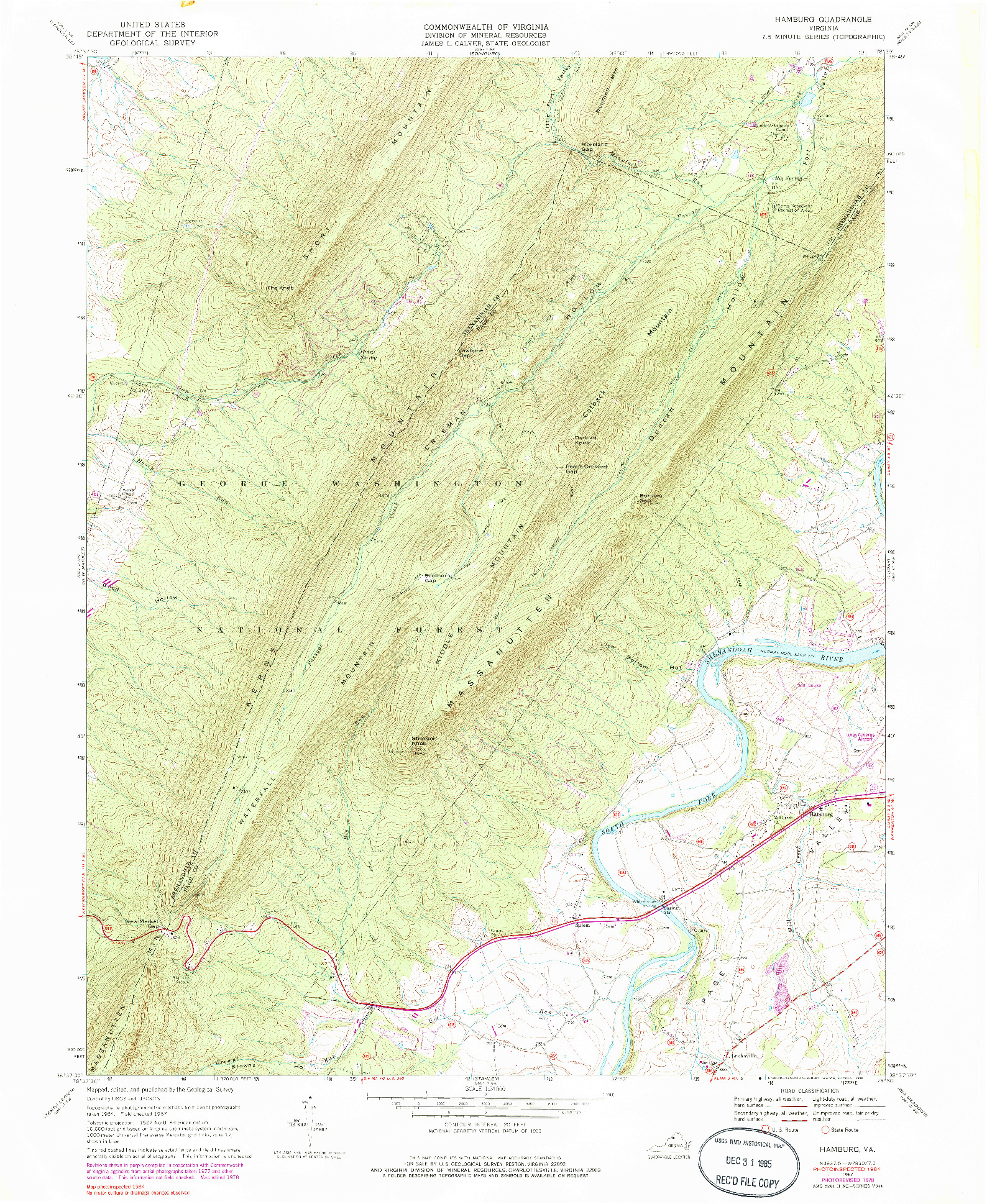 USGS 1:24000-SCALE QUADRANGLE FOR HAMBURG, VA 1967