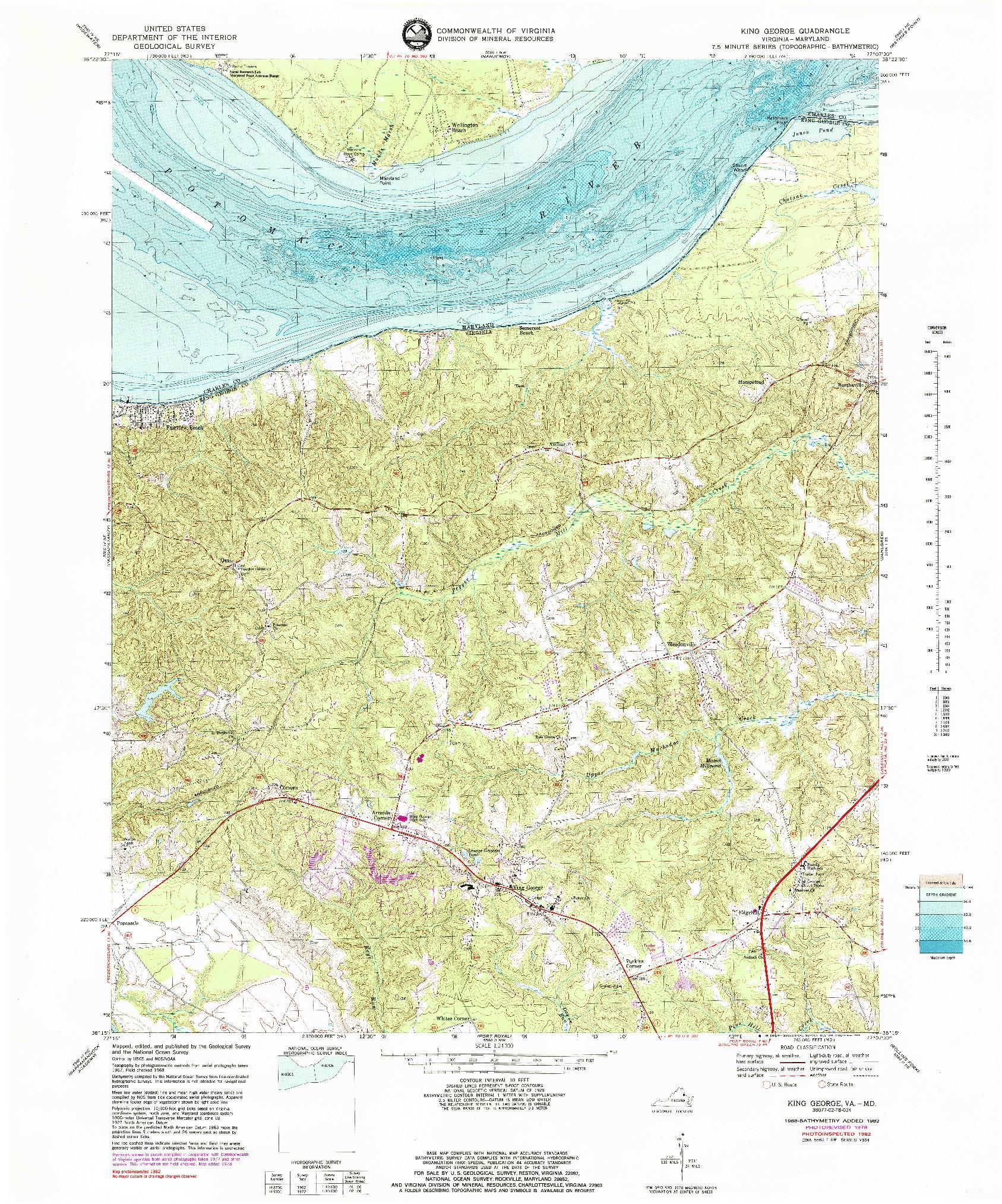 USGS 1:24000-SCALE QUADRANGLE FOR KING GEORGE, VA 1968