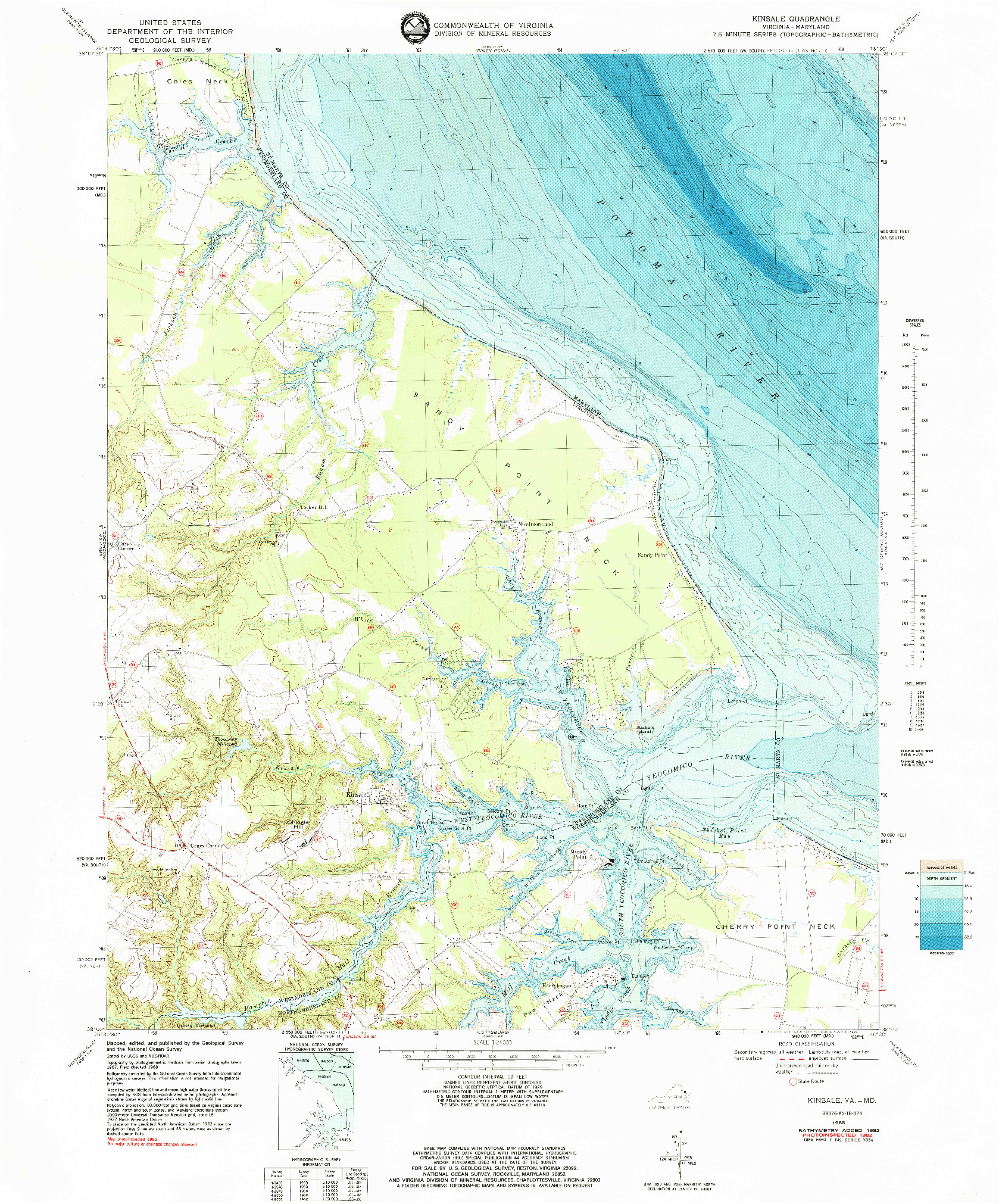 USGS 1:24000-SCALE QUADRANGLE FOR KINSALE, VA 1968