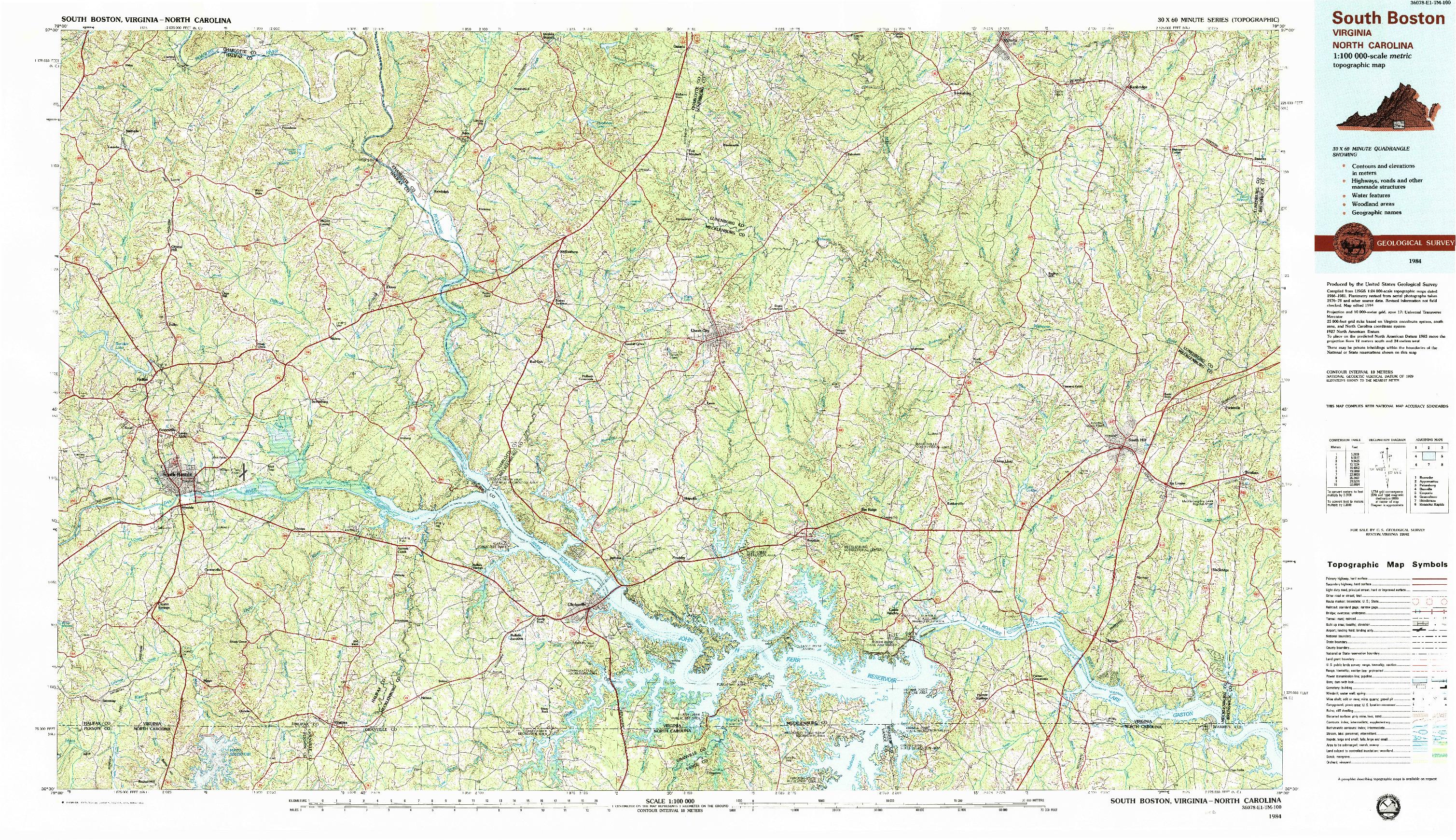 USGS 1:100000-SCALE QUADRANGLE FOR SOUTH BOSTON, VA 1984