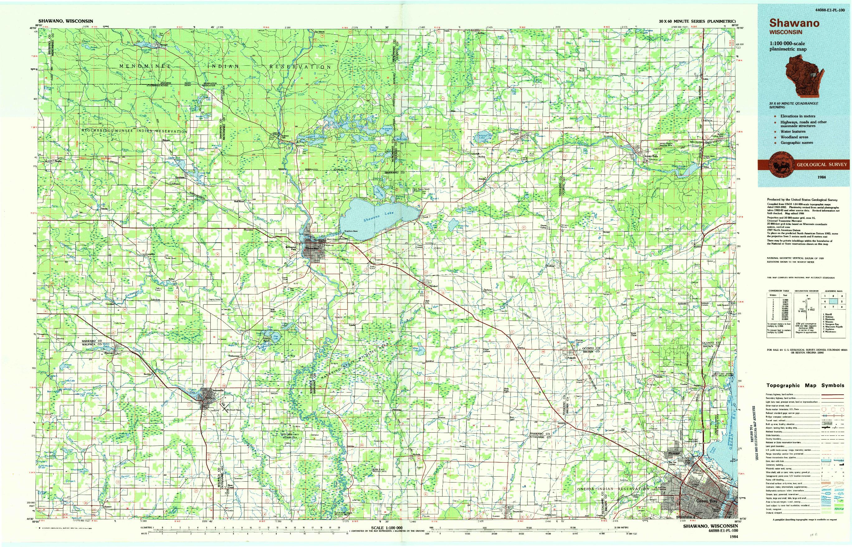 USGS 1:100000-SCALE QUADRANGLE FOR SHAWANO, WI 1984
