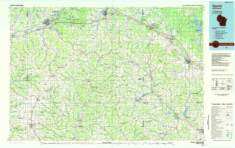 USGS 1:100000-SCALE QUADRANGLE FOR SPARTA, WI 1985