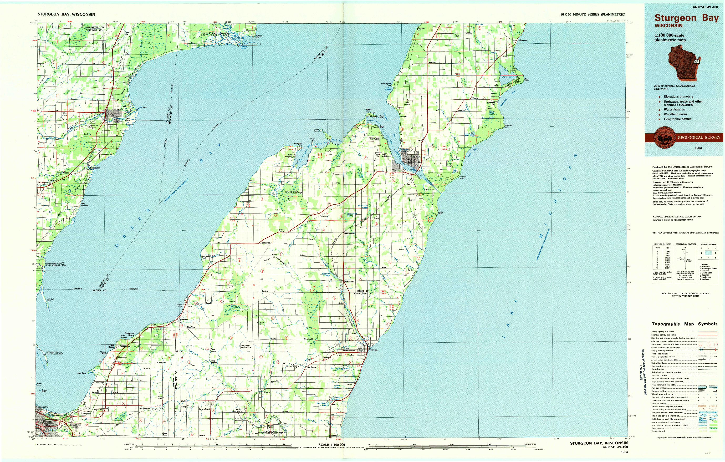 USGS 1:100000-SCALE QUADRANGLE FOR STURGEON BAY, WI 1984