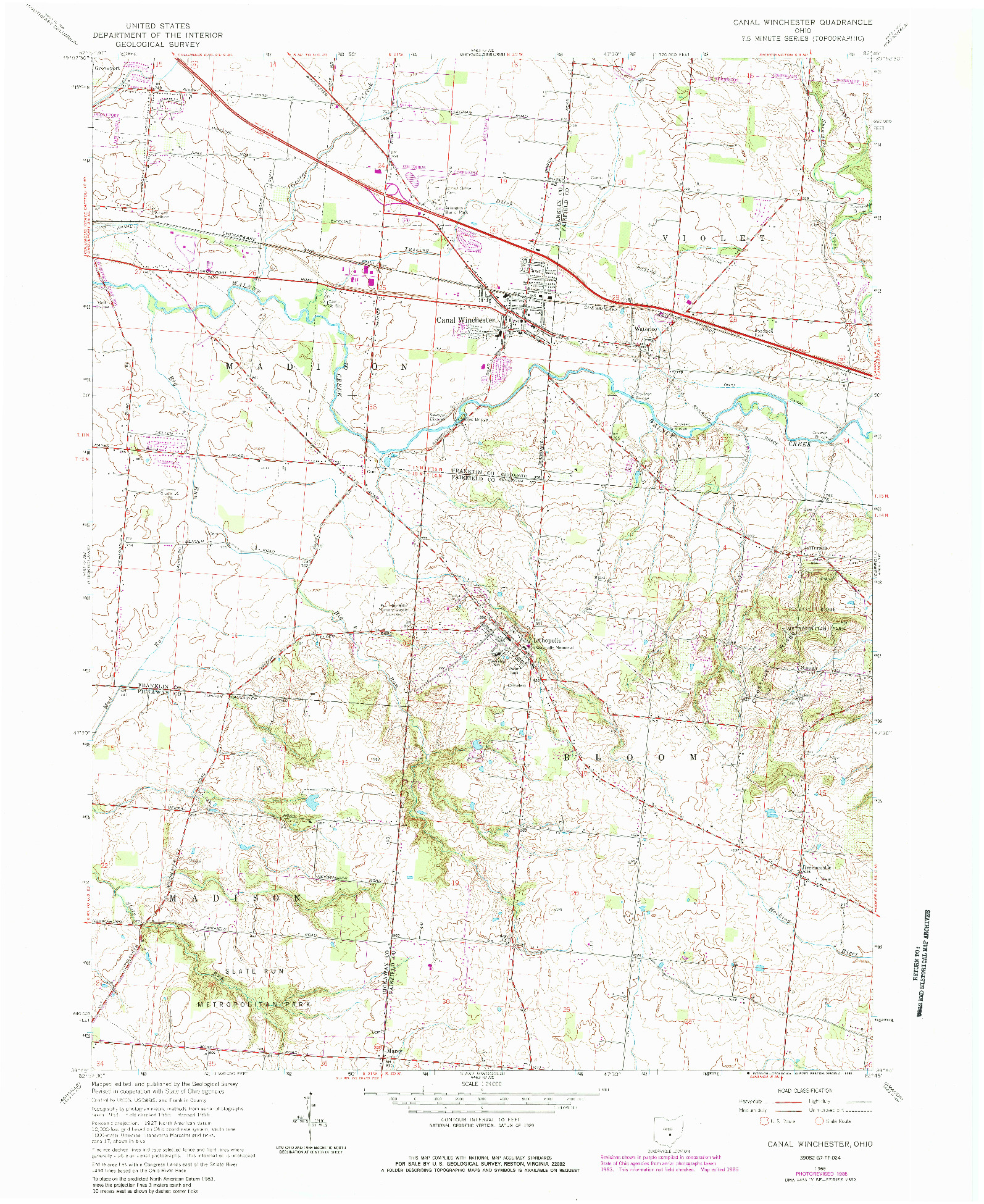 USGS 1:24000-SCALE QUADRANGLE FOR CANAL WINCHESTER, OH 1966